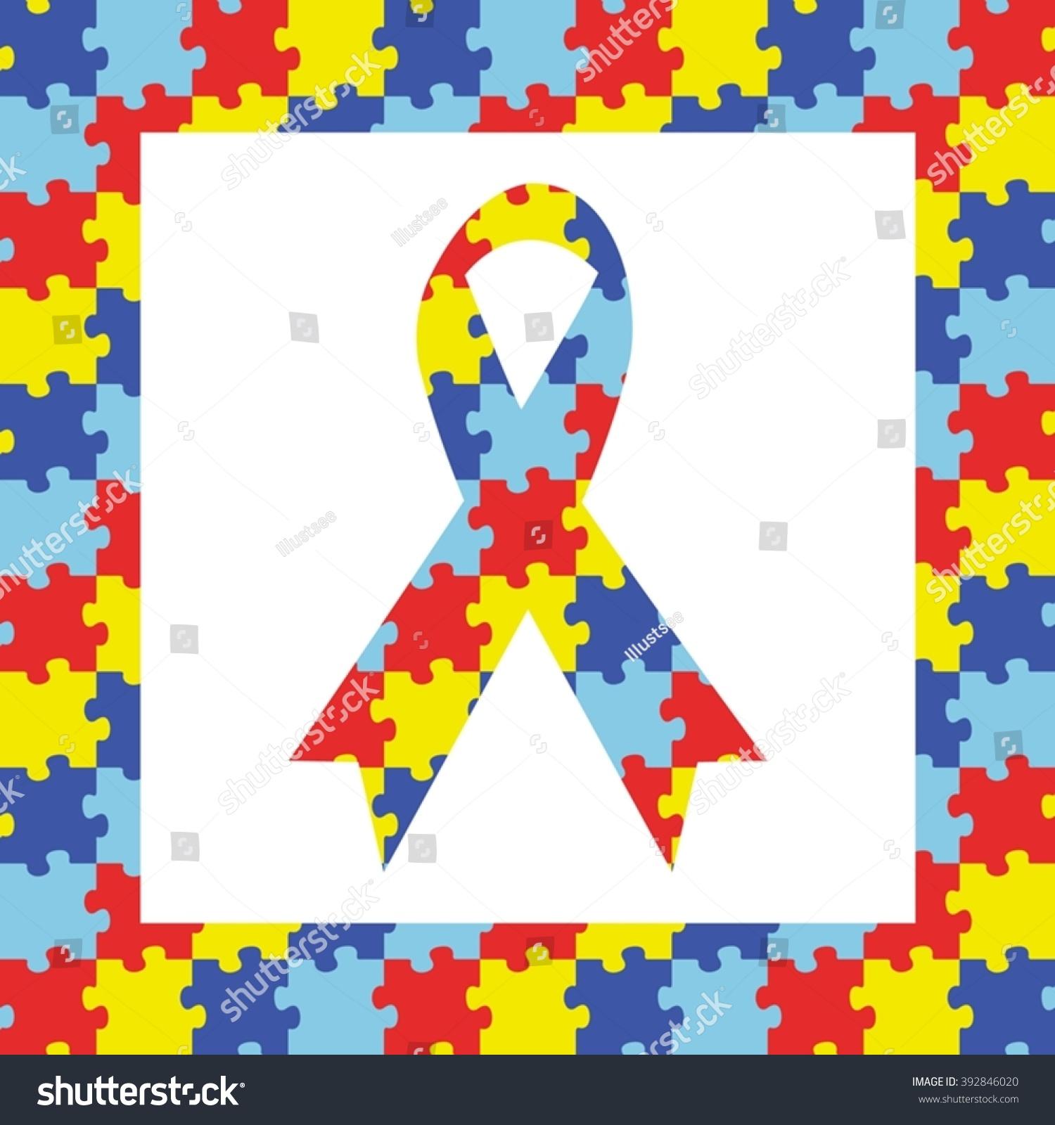 Autism ribbon awareness symbol frame stock vector 392846020 autism ribbon awareness symbol in frame biocorpaavc Gallery