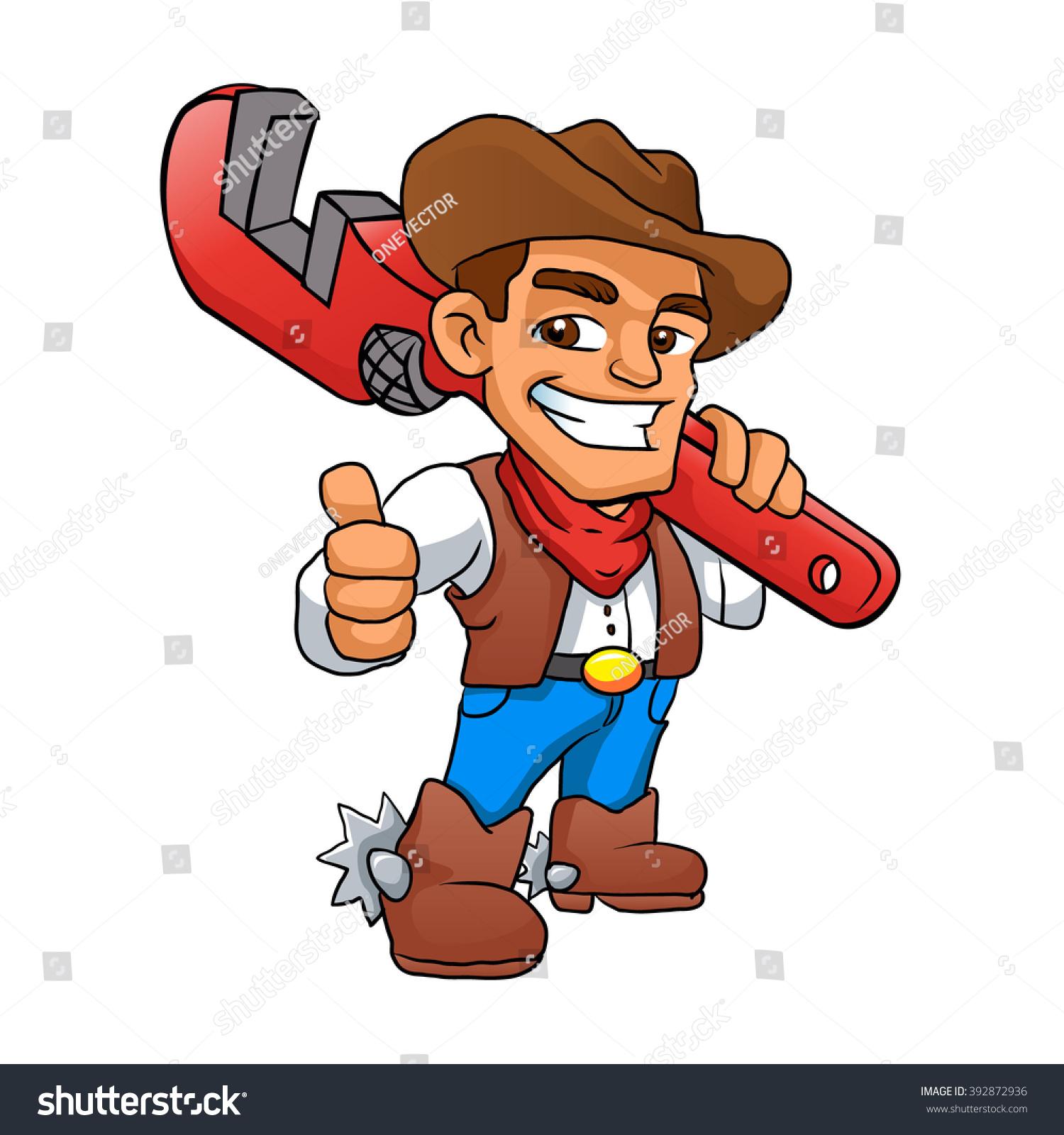 Plumber Cowboyhandyman Cowboy Stock Vector 392872936 - Shutterstock