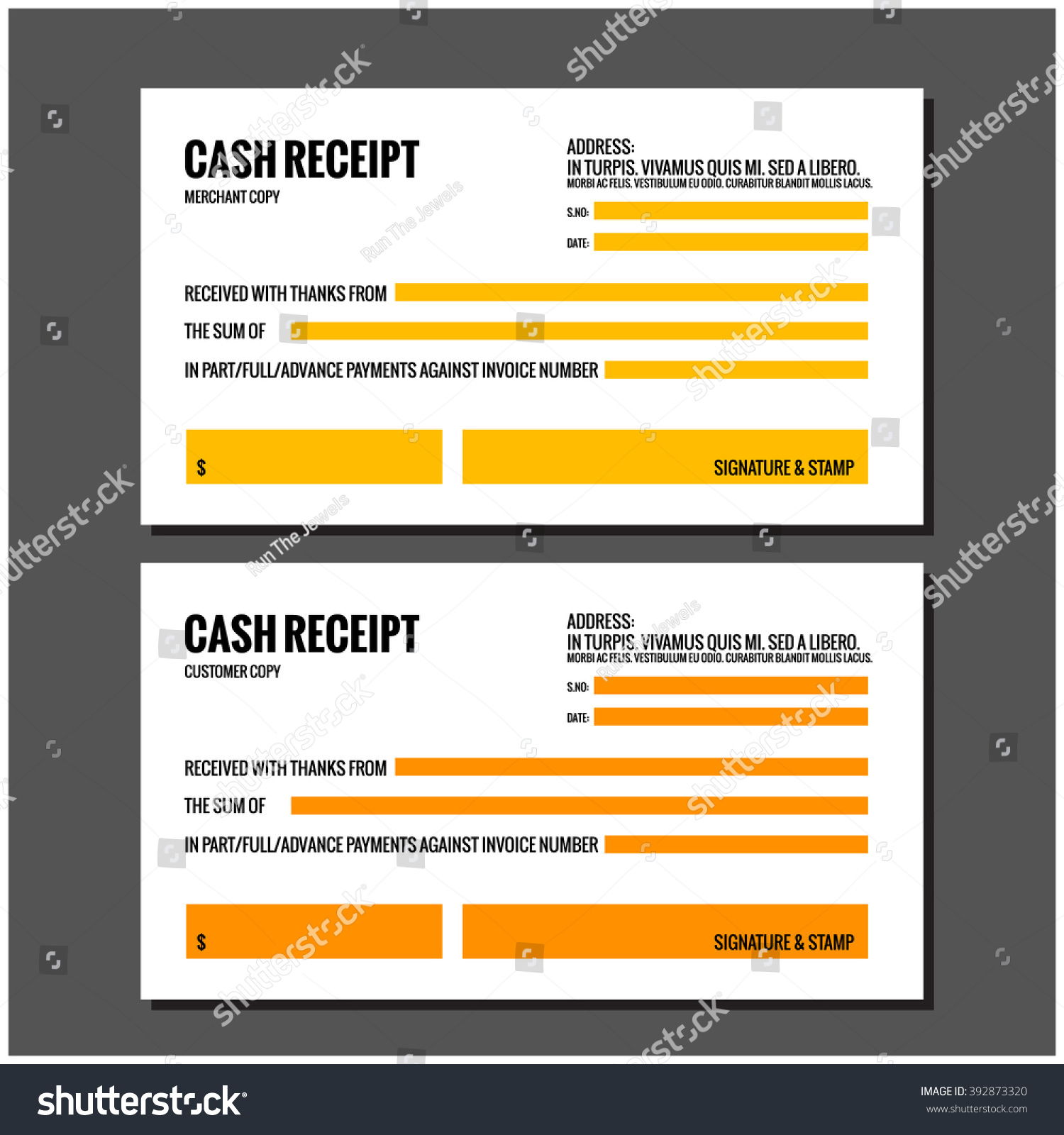 cash receipt design template stock vector royalty free 392873320