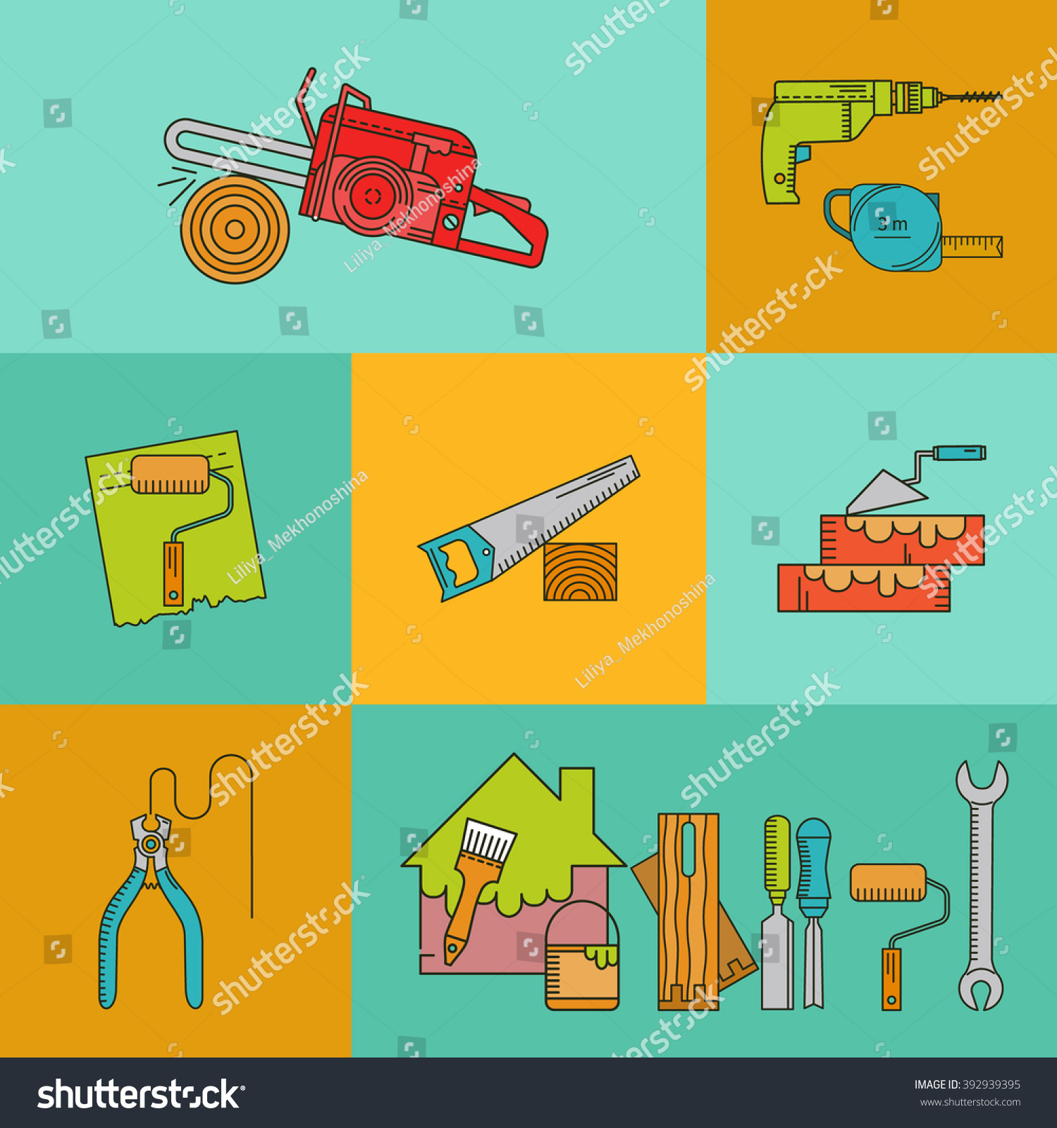 Set Objects On Theme Repair Tools Stock Vector 392939395 - Shutterstock