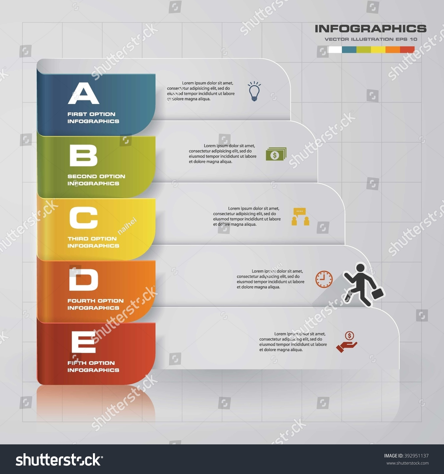 5 steps presentation templategraphic website layout stock vector, Powerpoint templates