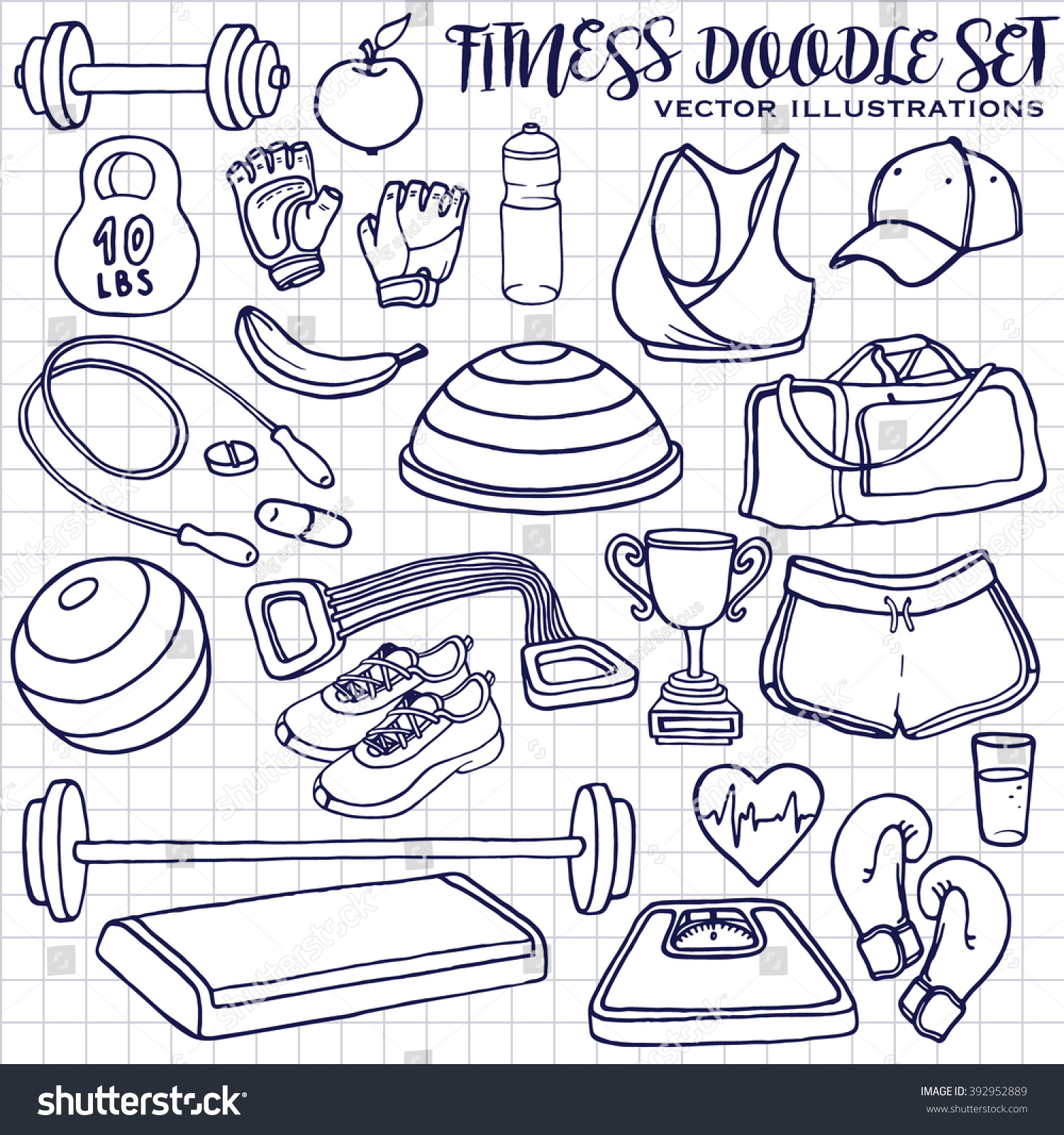 hand drawn fitness doodle set on stock vector 392952889 shutterstock