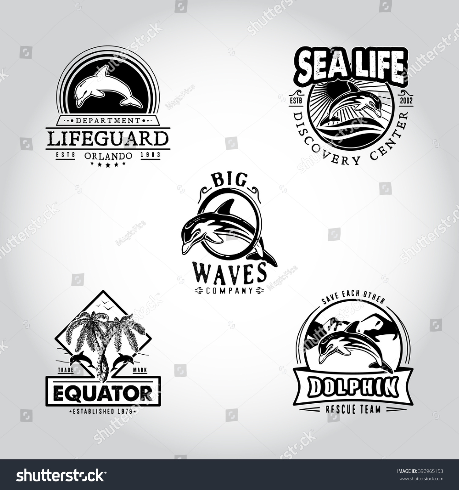 Set Vintage Badge Dolphin Drawn By Stock Vector (Royalty Free ...