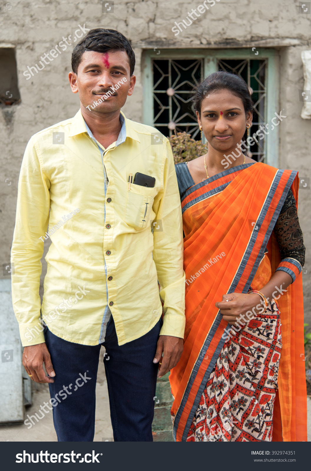 Young married couple closeup in rural village salunkwadi ambajogai beed maharashtra india