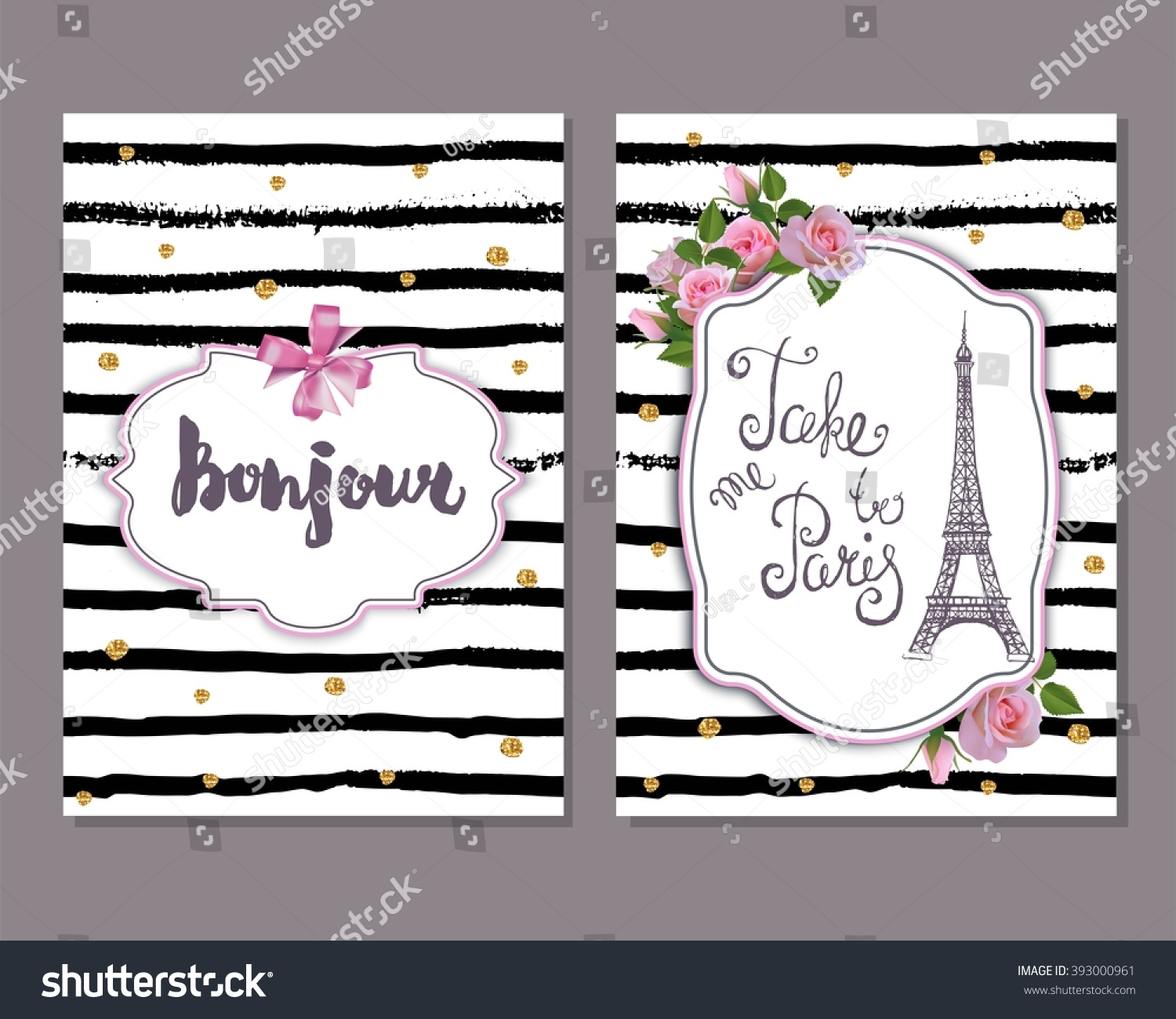 Vector Romantic Template Pink Roses Eiffel Stock Vector (Royalty ...