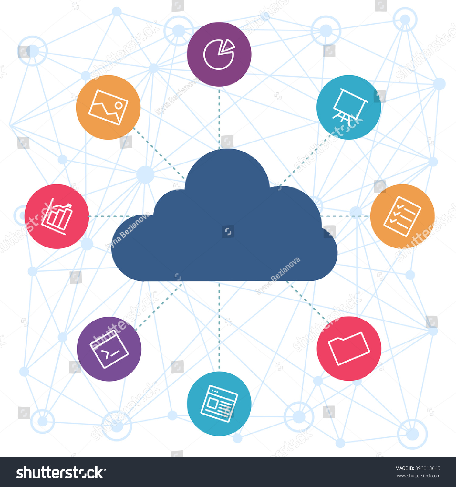Sharing Files Cloud Backend Service Cloud Stock Vector 393013645 ...
