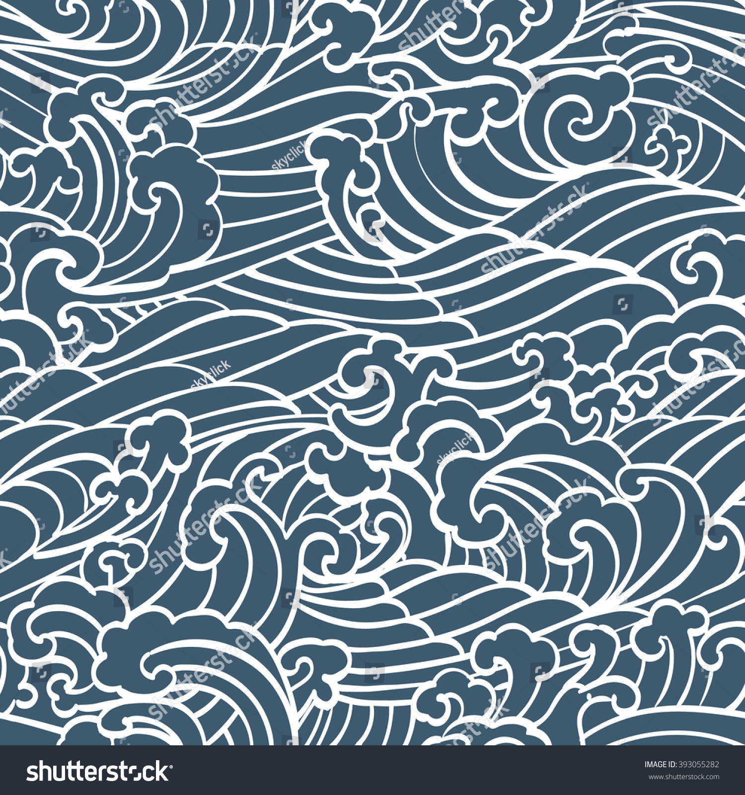 Pattern seamless ocean waves hand draw stock vector 393055282 pattern seamless ocean waves hand draw asian style white hand drawn on a blue background ccuart Gallery