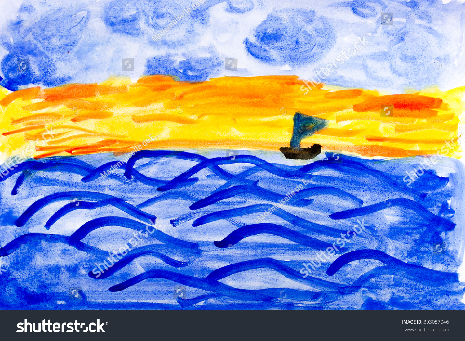 watercolor painting childrens sailing ship on the sea surface - Painting For Childrens
