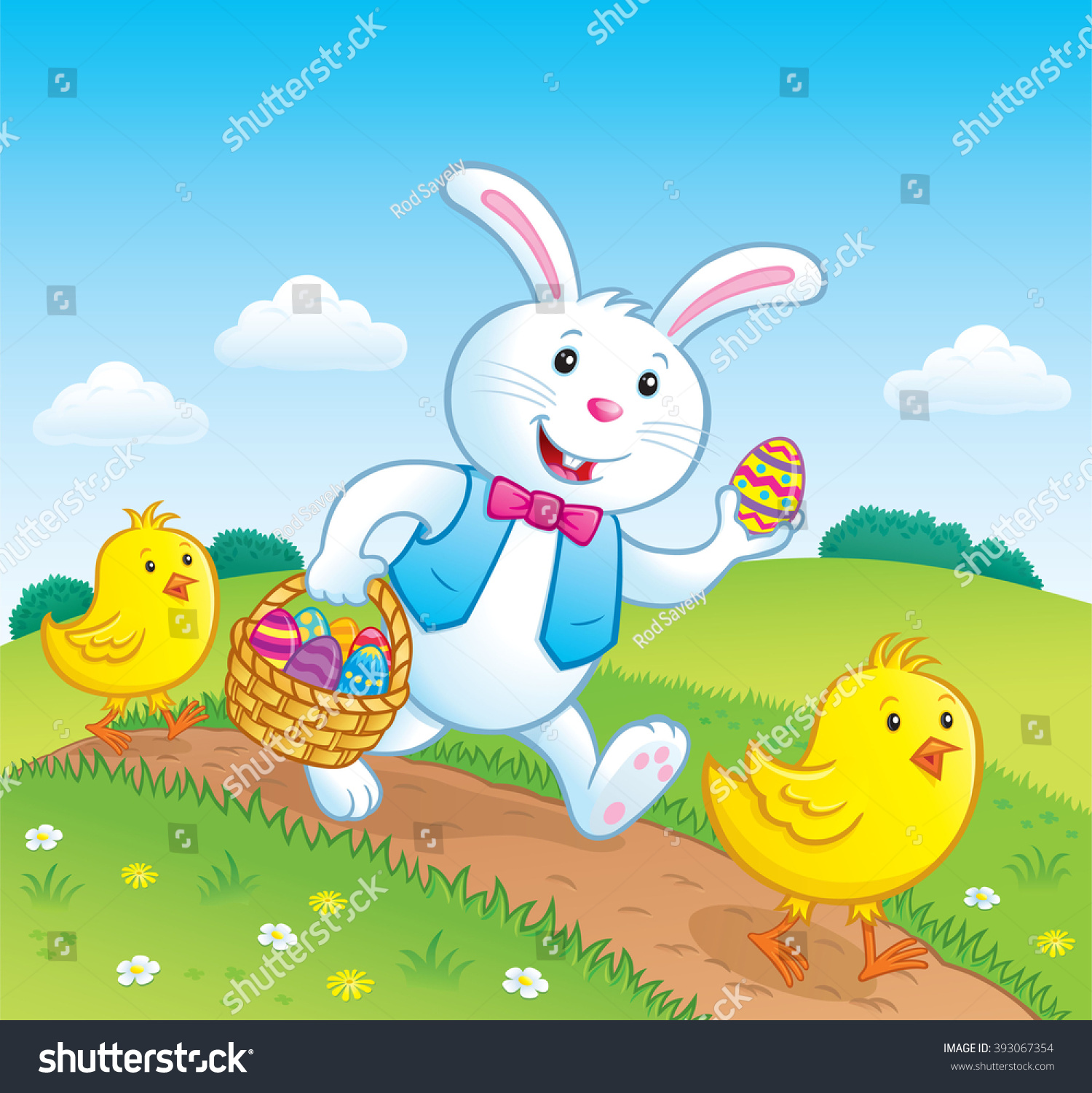 Easter Bunny and Baby Chicks Walking On A Trail