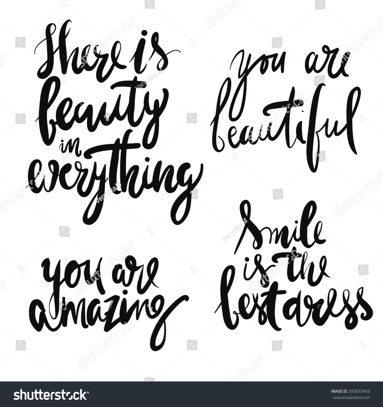 Quotes On Beauty Set Beauty Quotes There Beauty Everything Stock Vector 393073459