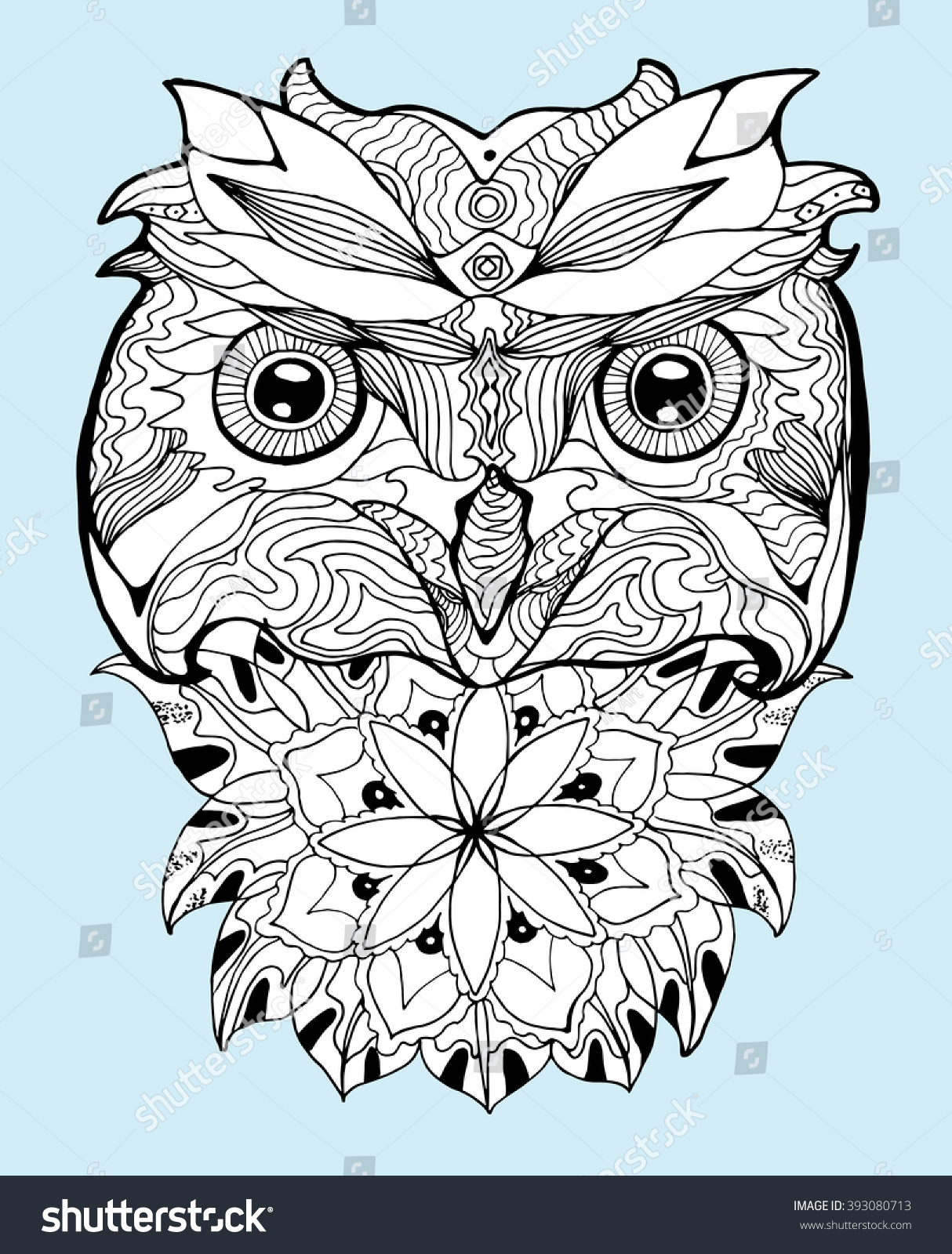 portrait owl owls head abstract bird stock vector 393080713