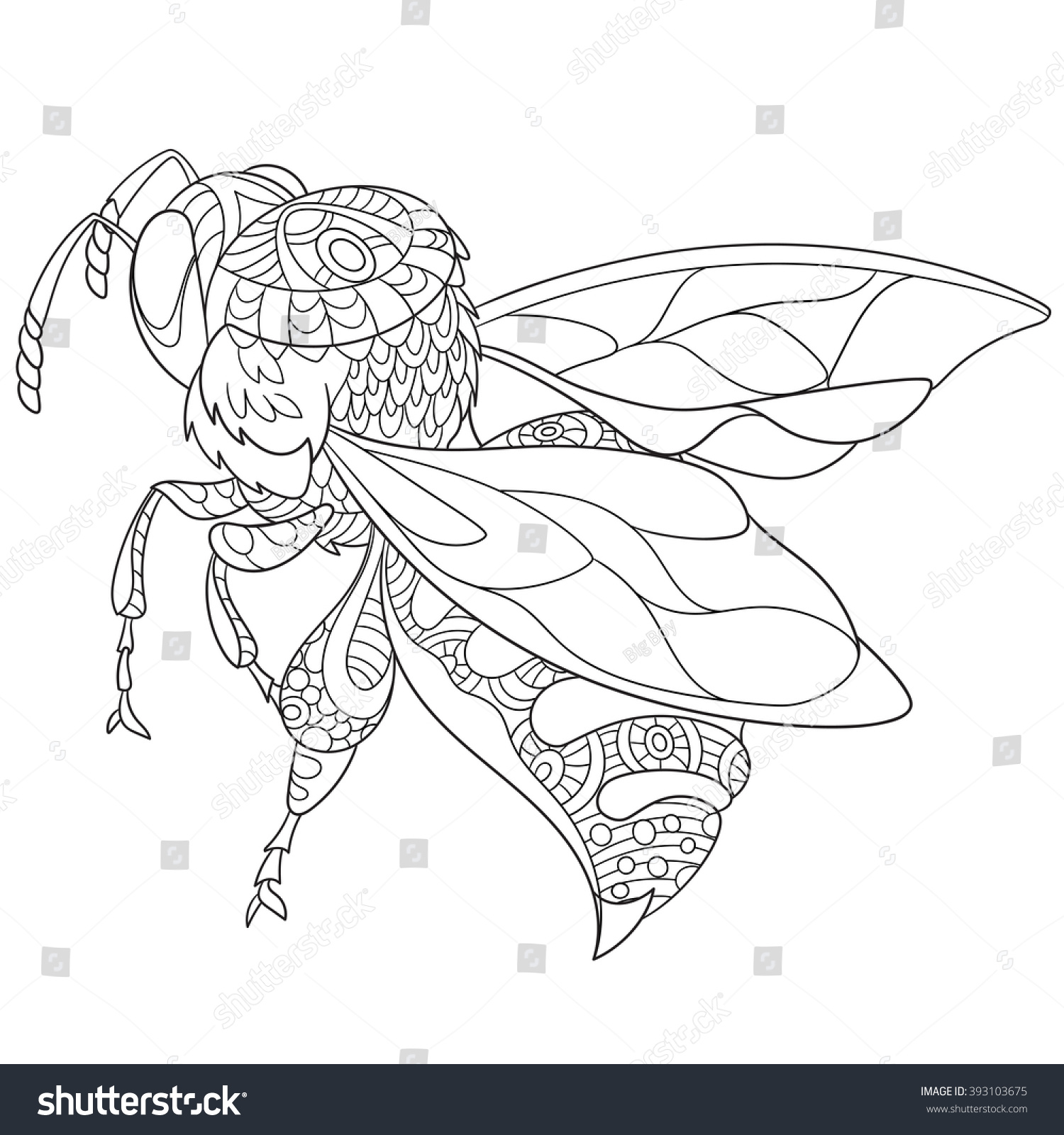 zentangle stylized cartoon bee insect bumblebee stock vector