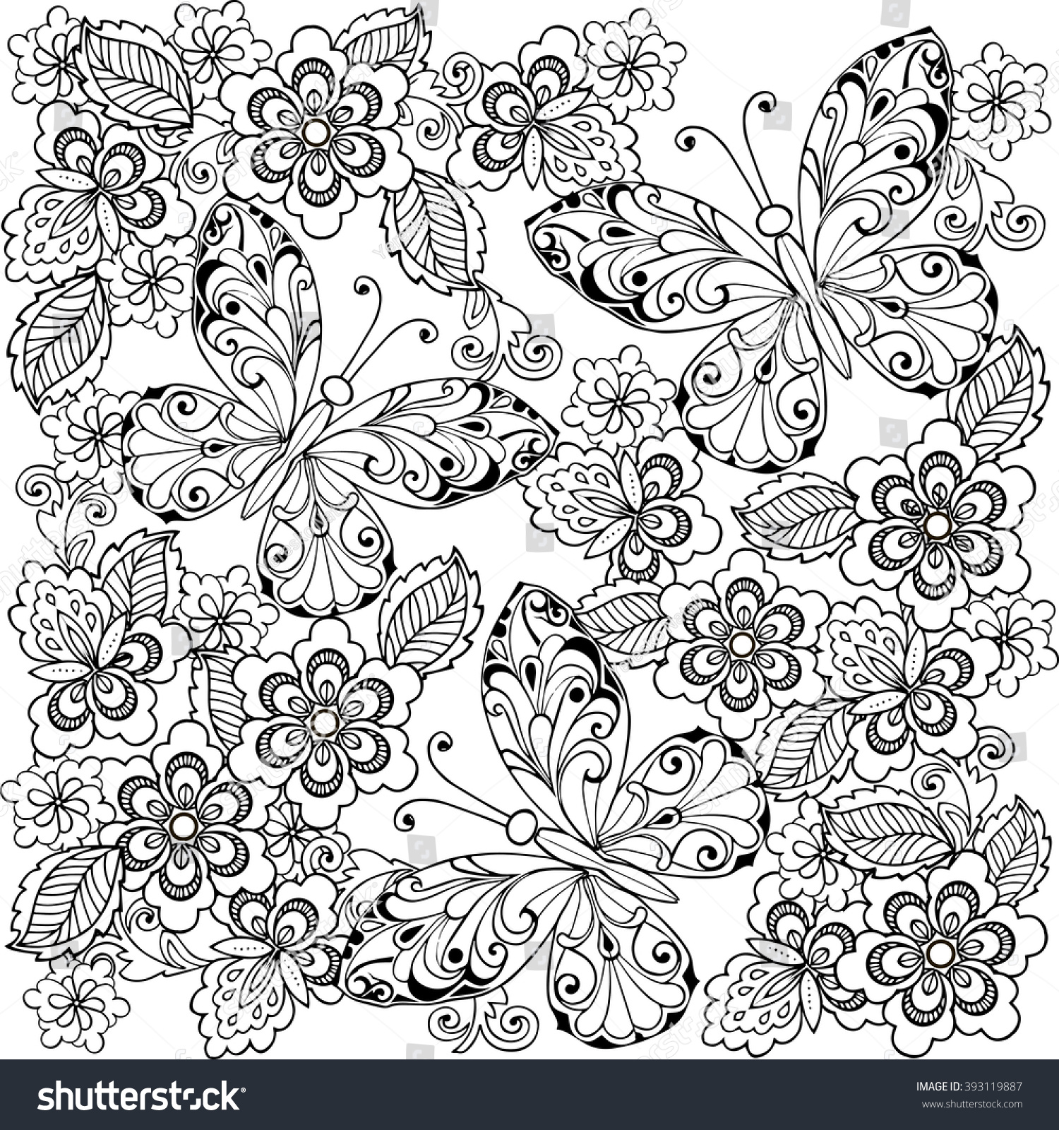 hand drawn flowers butterflies anti stress stock vector 393119887