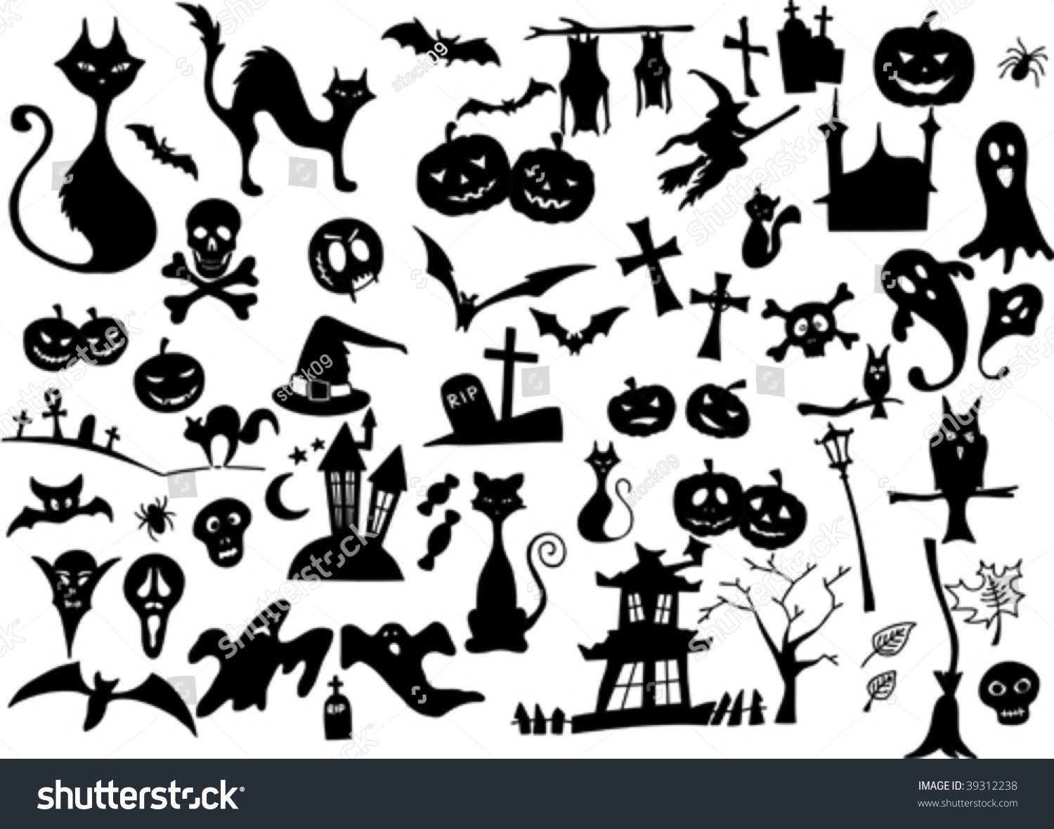 Vector Collection Of Halloween Silhouettes - More Available ...