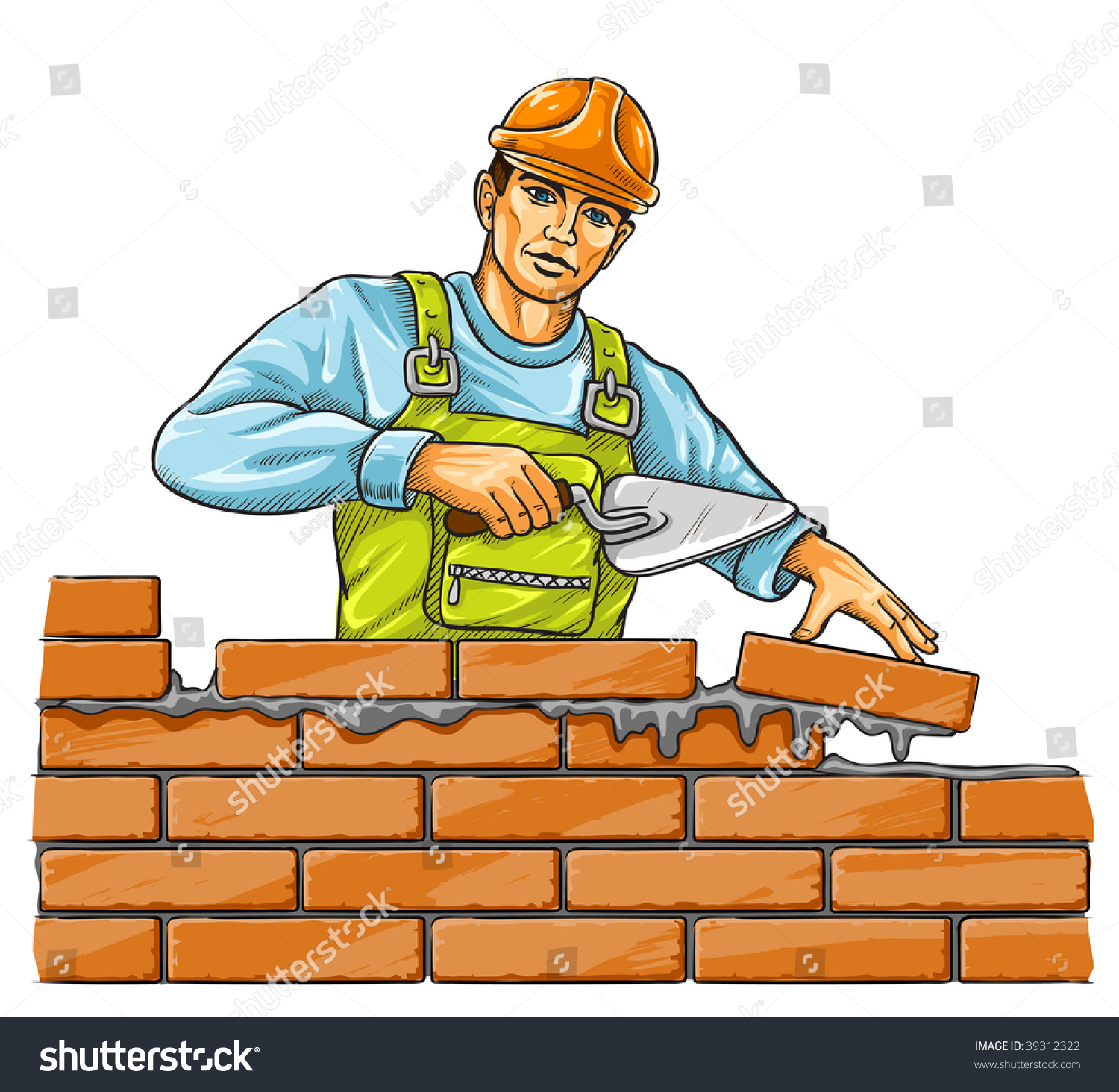 Builder man derby tool building brick stock vector for Www builder