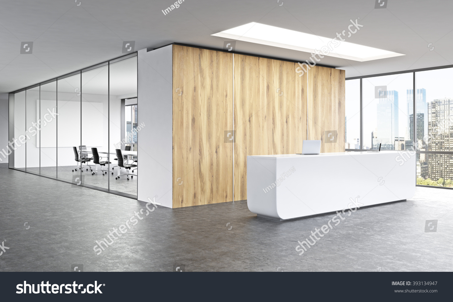 empty office white reception wooden wall stock illustration
