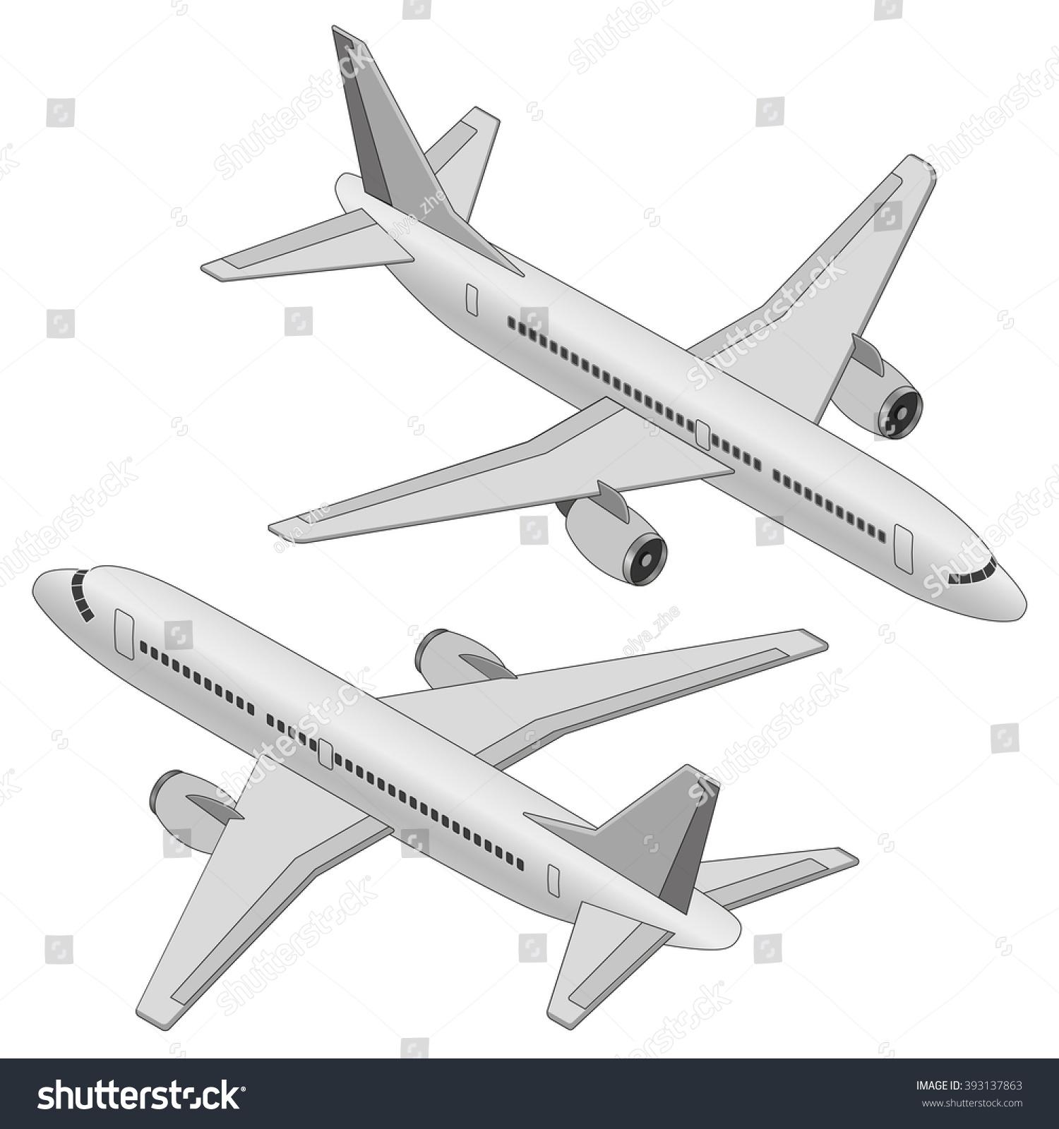 flat 3d isometric passenger plane on stock vector 393137863