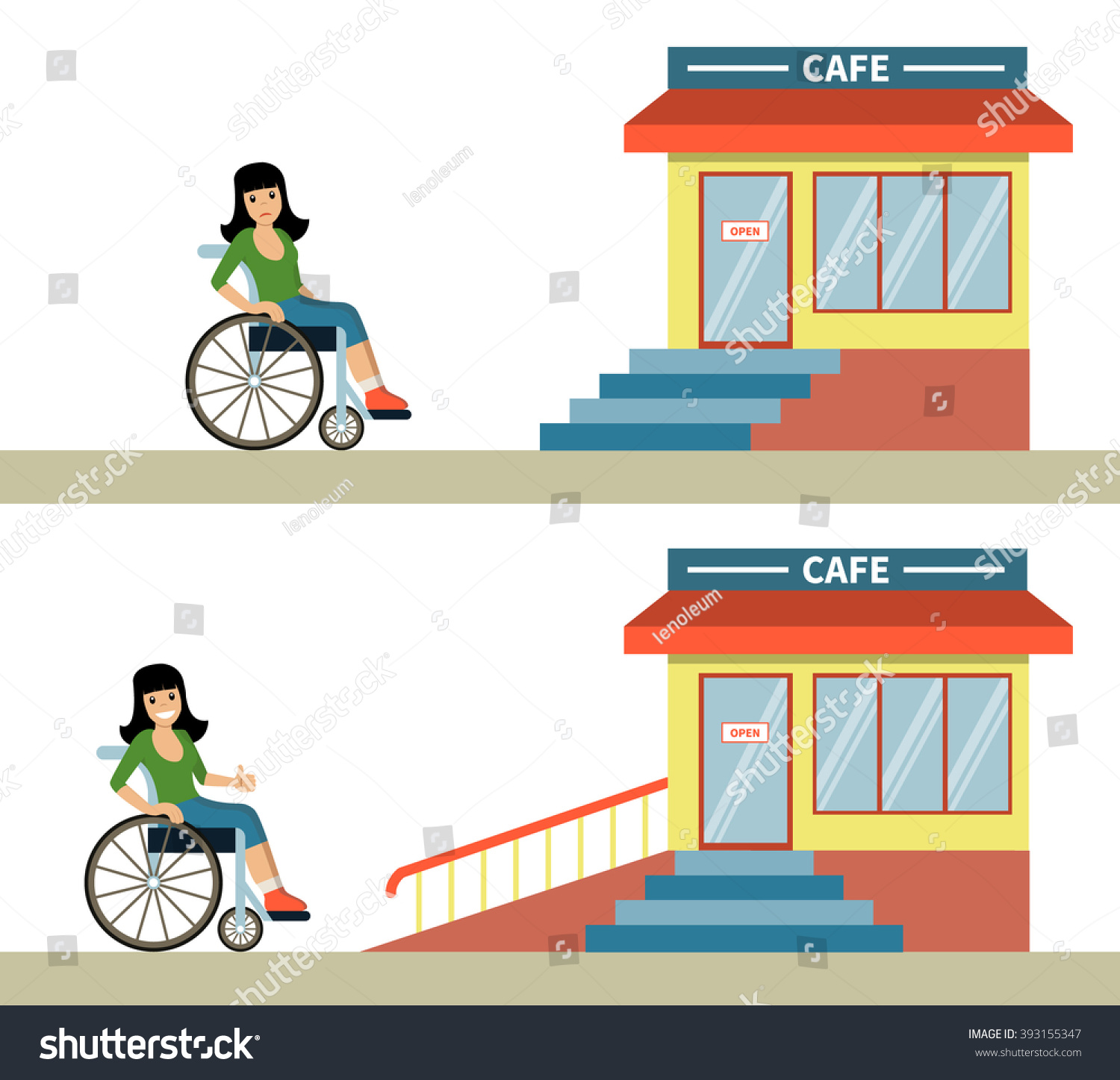 Young Woman Wheelchair Front Cafe Stairs Stock Vector