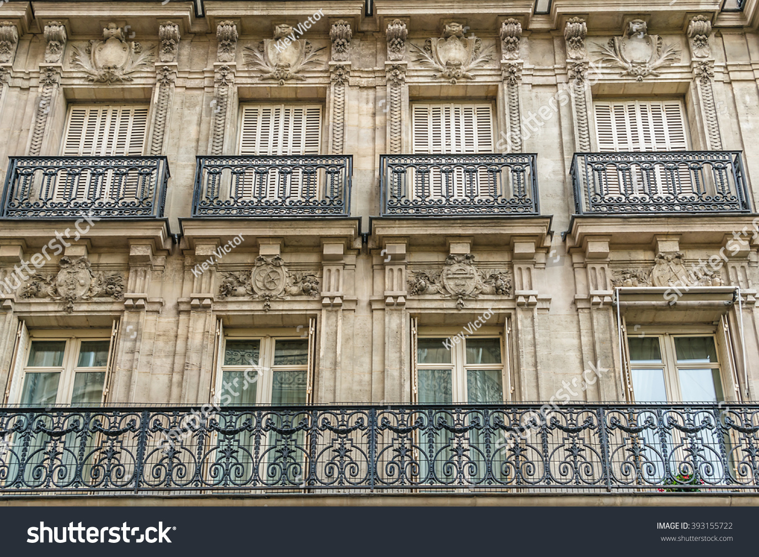 Old french house traditional balconies windows stock photo for Traditional balconies