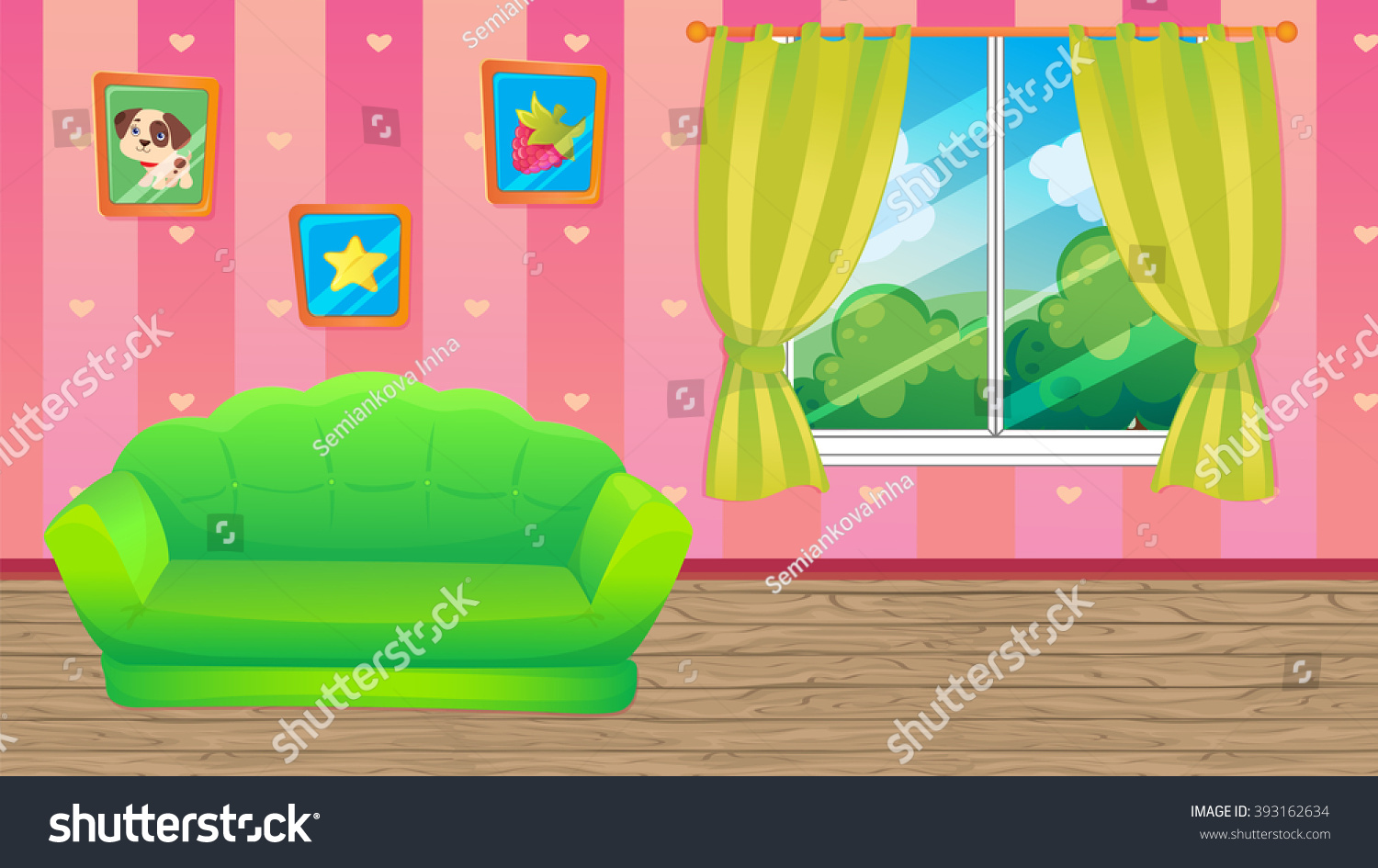 Vector Cartoon Game Background Of Pink Room With Green Sofa