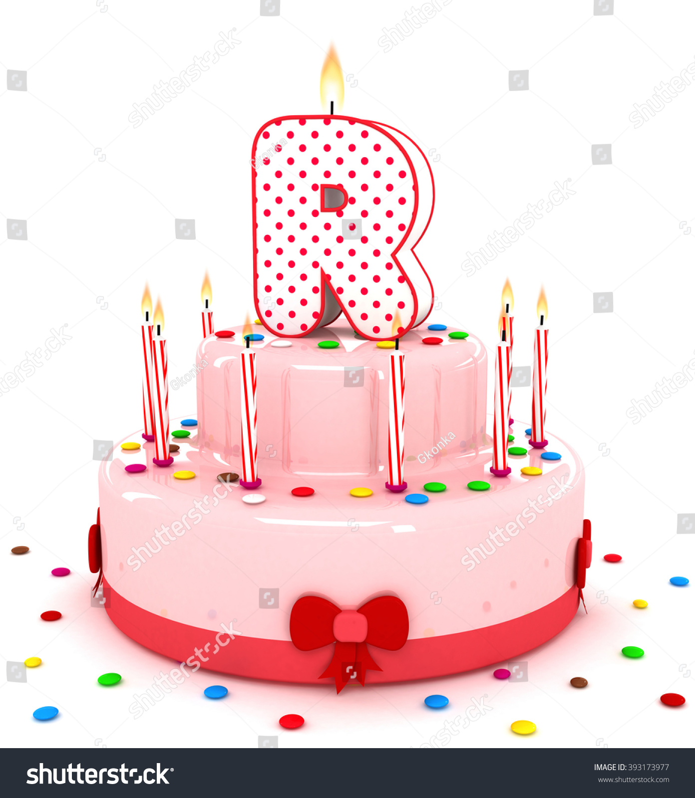 3d cute letter r rendering colorful birthday cake alphabet with sweet candle and decorate