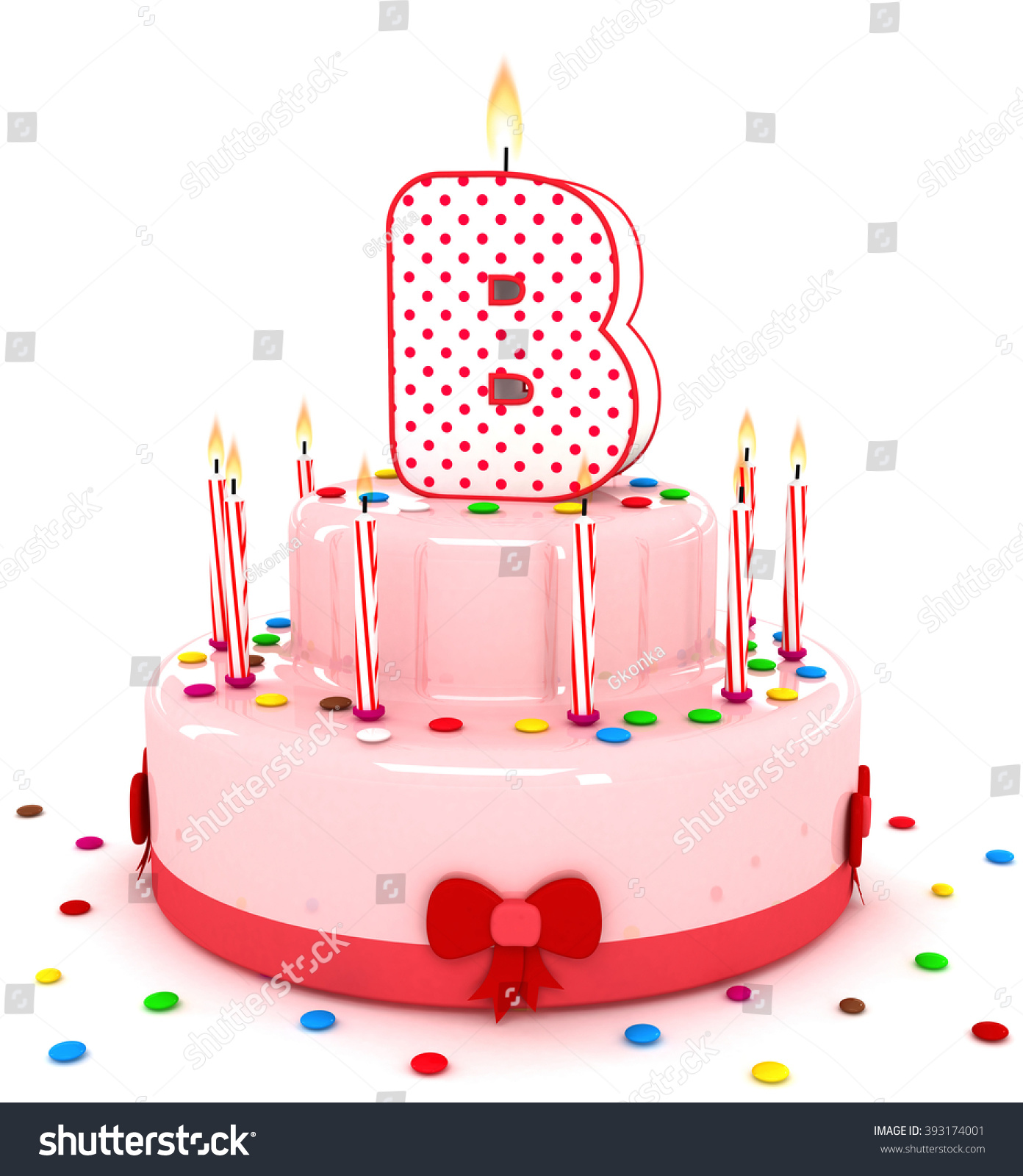 3d cute letter b rendering colorful birthday cake alphabet with sweet candle and decorate