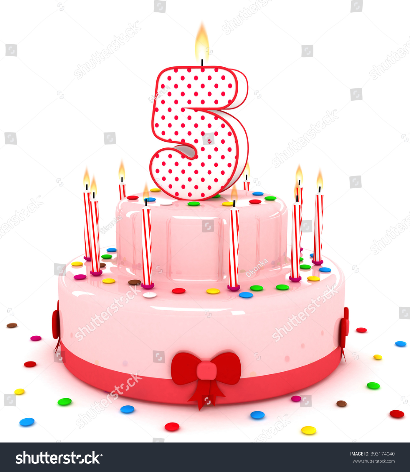 3d Cute Number 5 Five Rendering Colorful Birthday Cake Year With Sweet Candle And