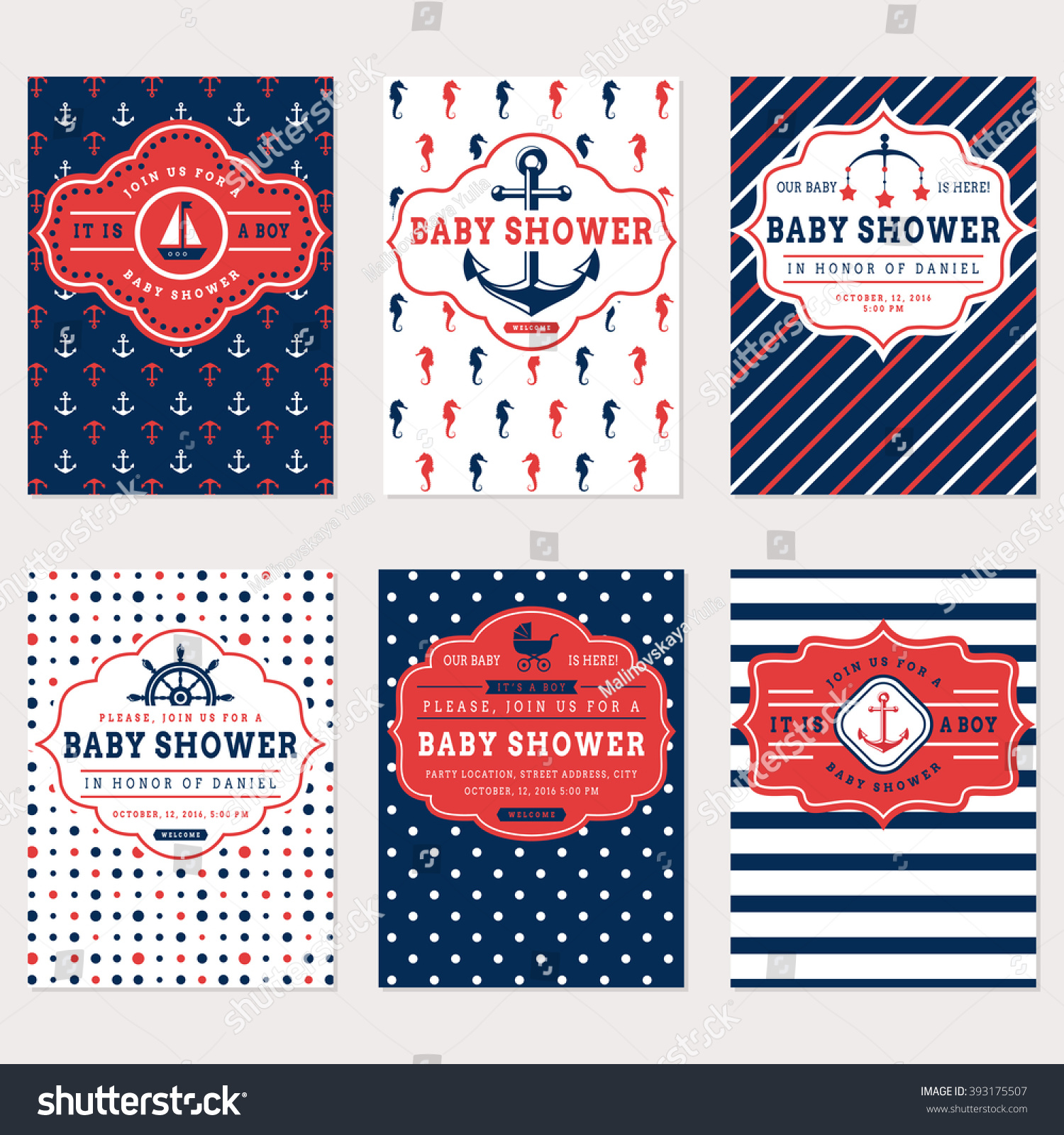 Nautical Baby Shower Cards Sea Theme Stock Vector