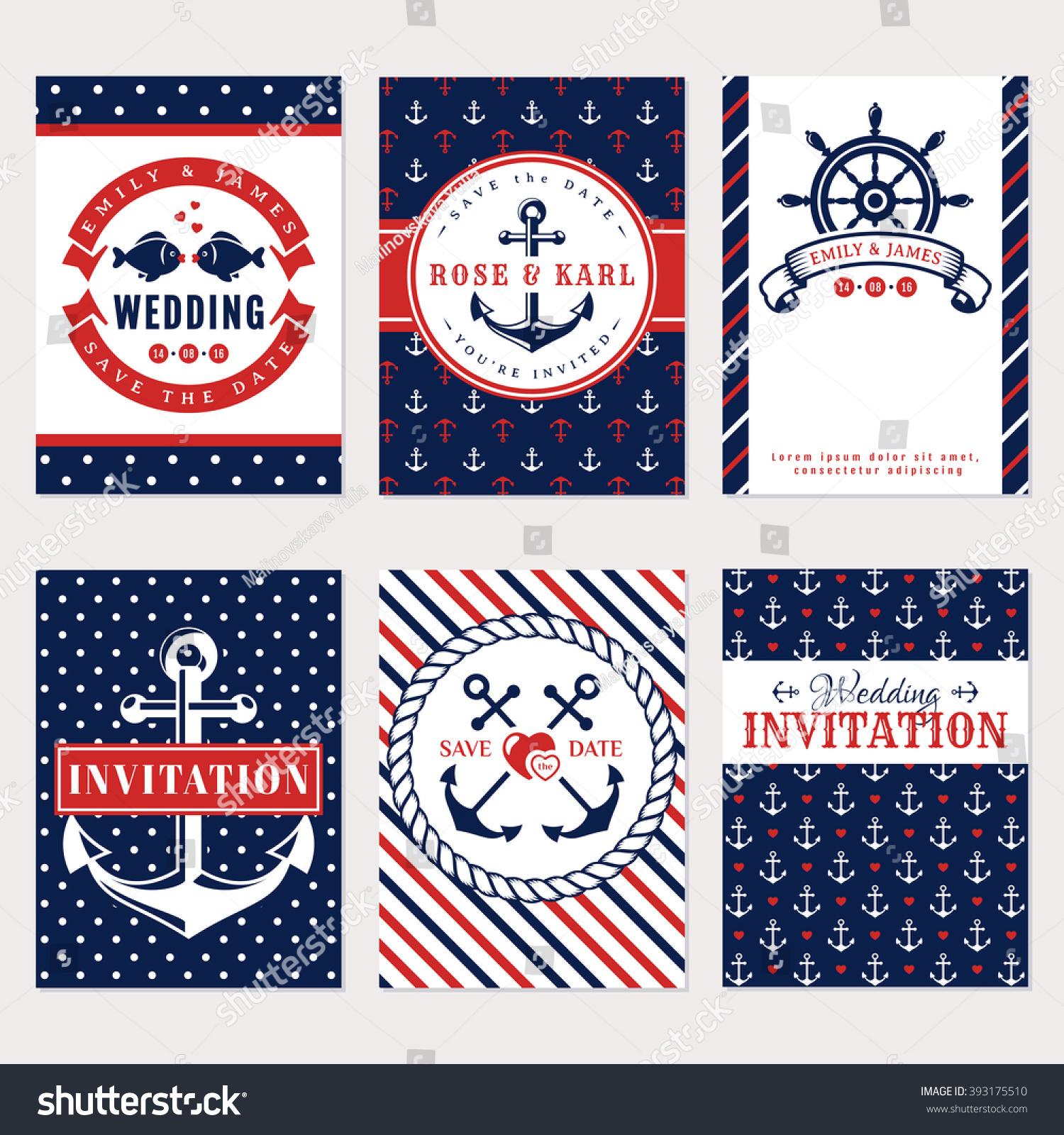 nautical wedding invitation cards sea theme stock vector