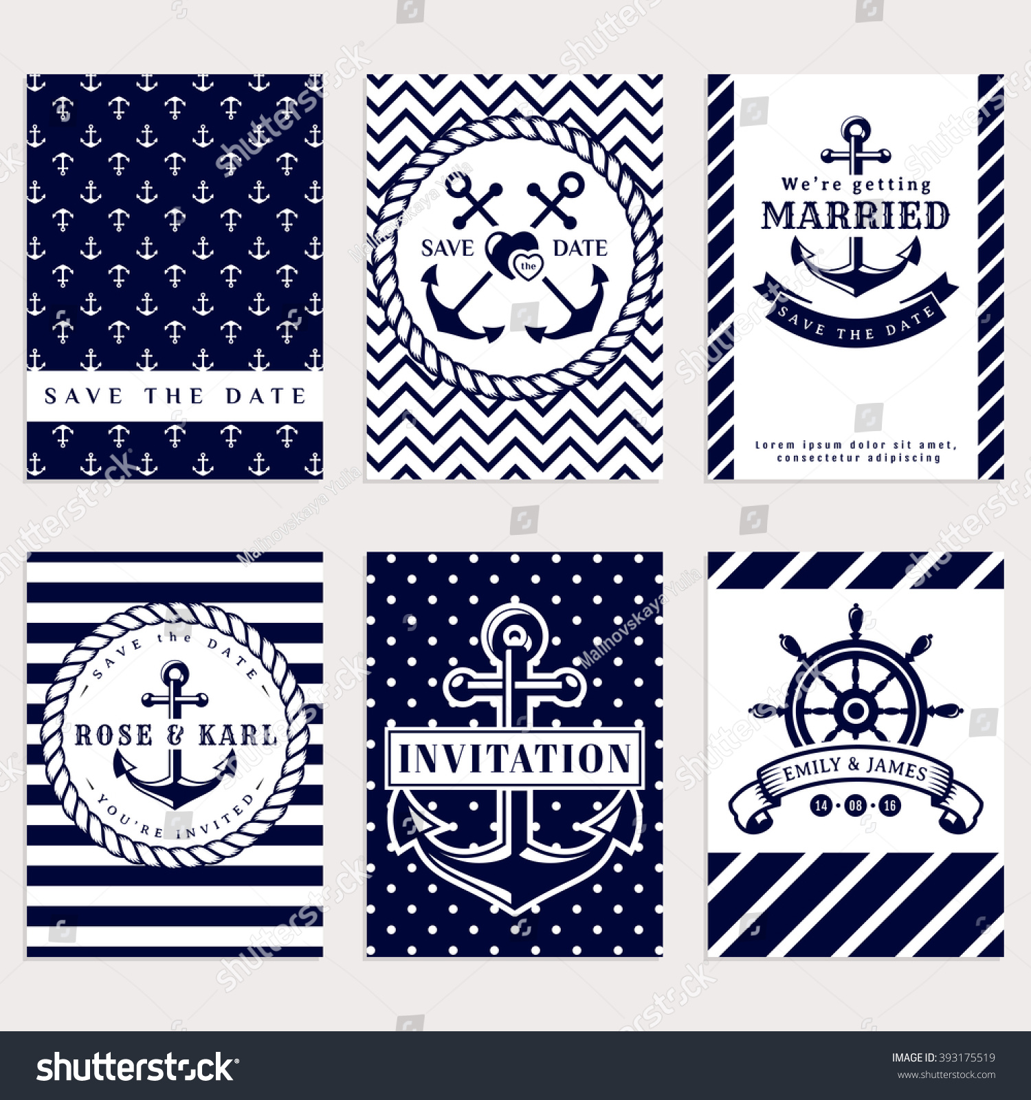Nautical Wedding Invitation Cards Sea Theme Stock Vector (2018 ...