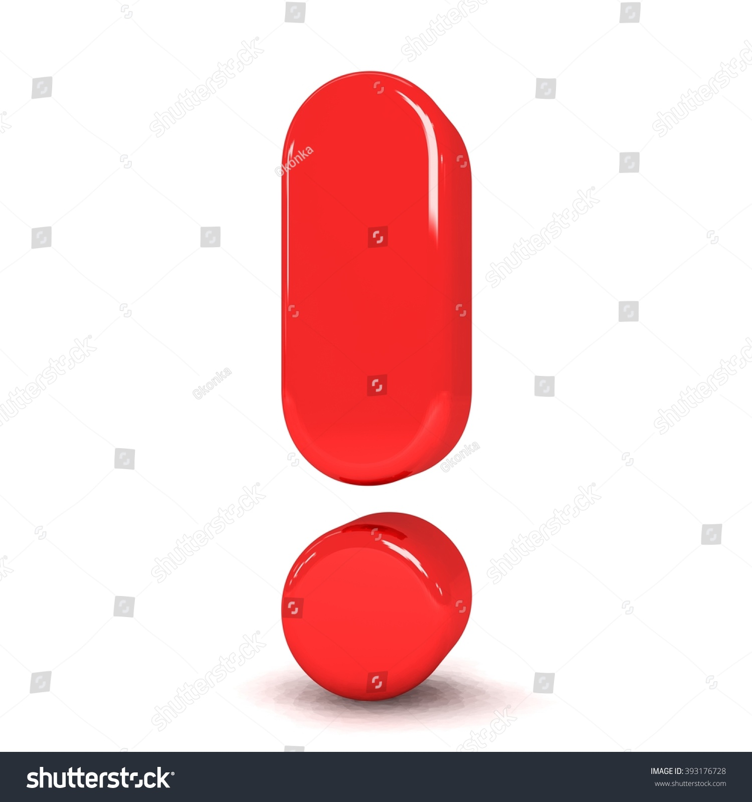 3 D Cute Red Metallic Exclamation Mark Stock Illustration 393176728