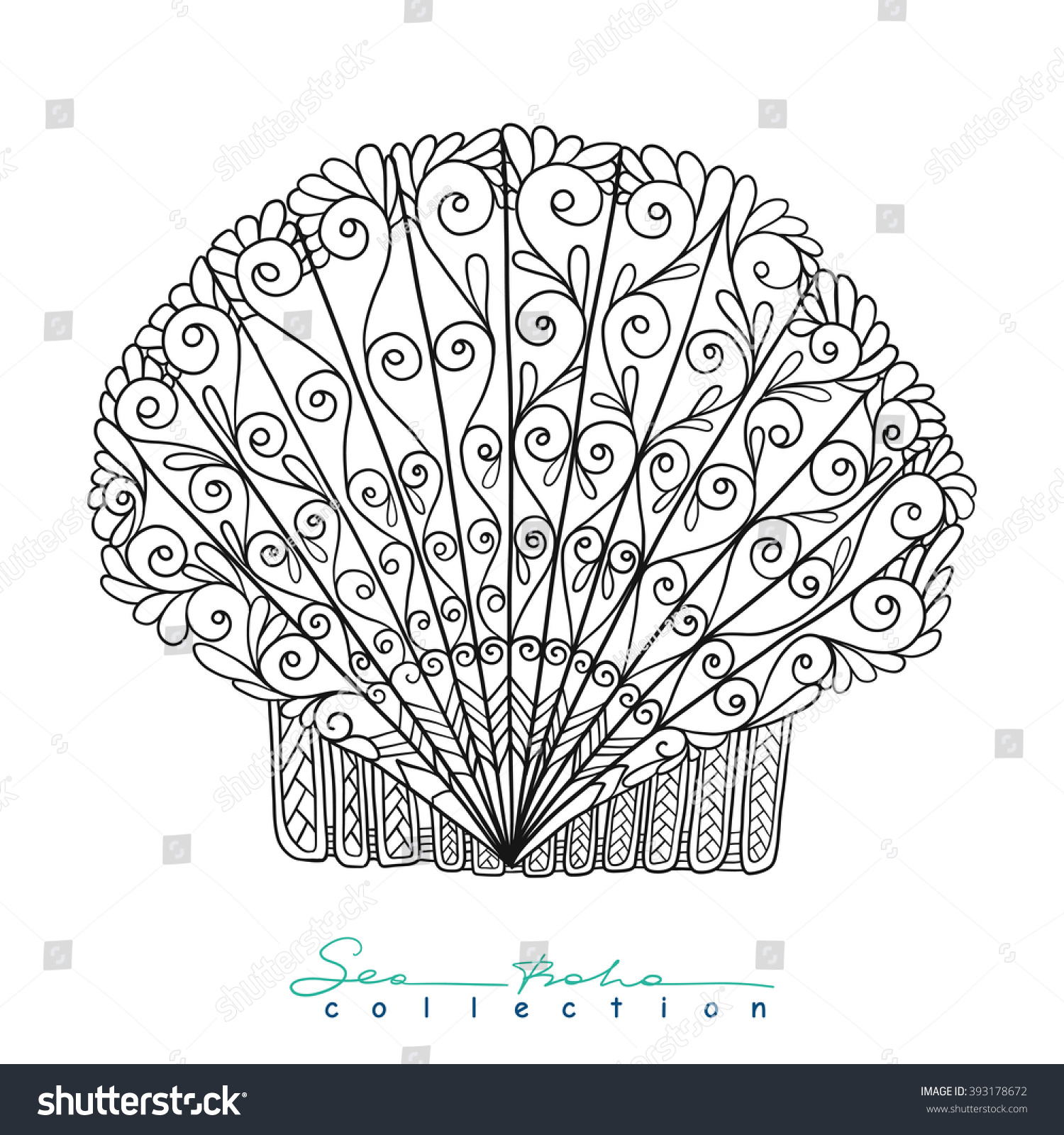 royalty free decorative sea shell outline drawing u2026 393178672