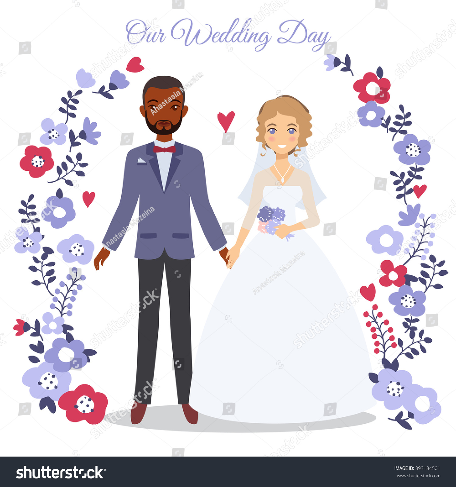 Cute Wedding Couple Vector Illustration. - 393184501 ...