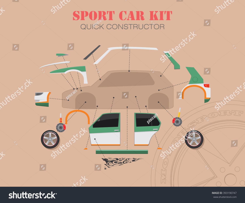 Sports Car Spare Parts Components Car Stock Vector (2018) 393190747 ...