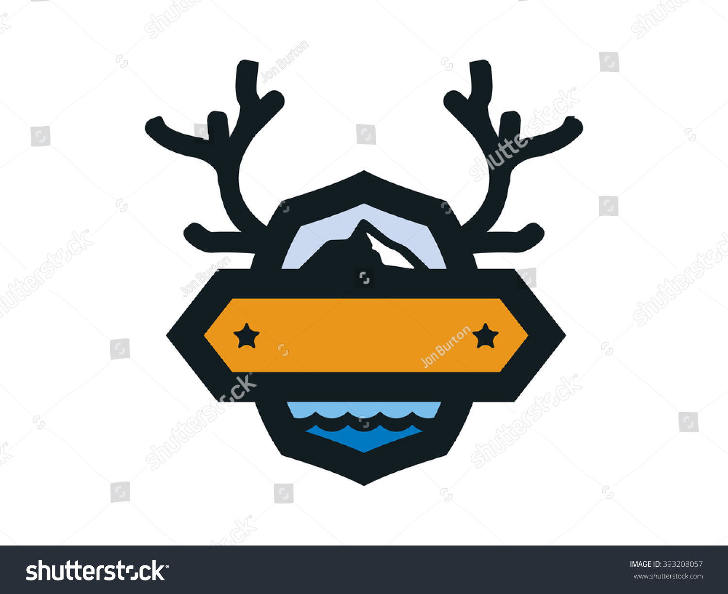 Outdoor Badge With Antlers Mountains And Water Blank Banner Ready For Text