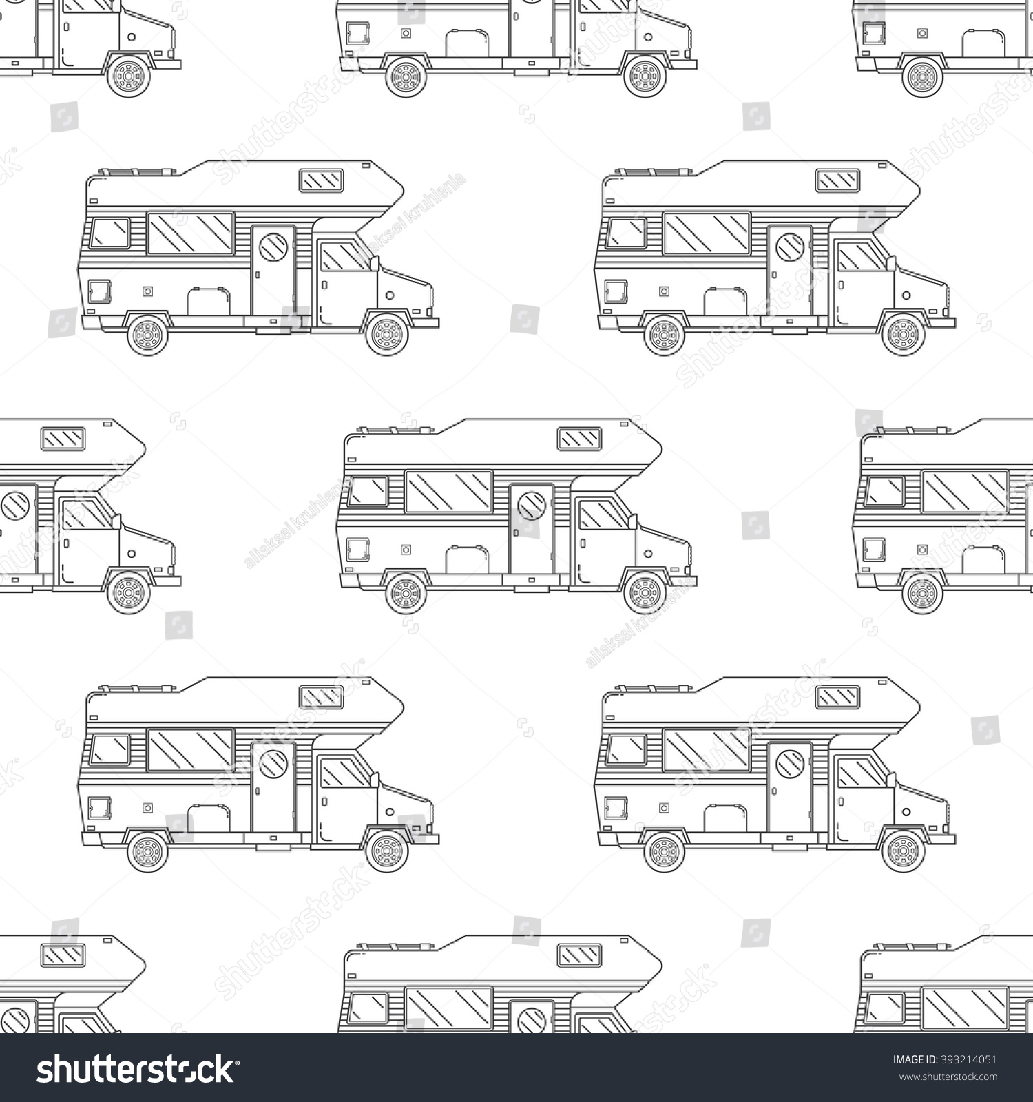 RV Camper Seamless Pattern Camping Trailer Outline Repeating Background For Textile Web Banners And