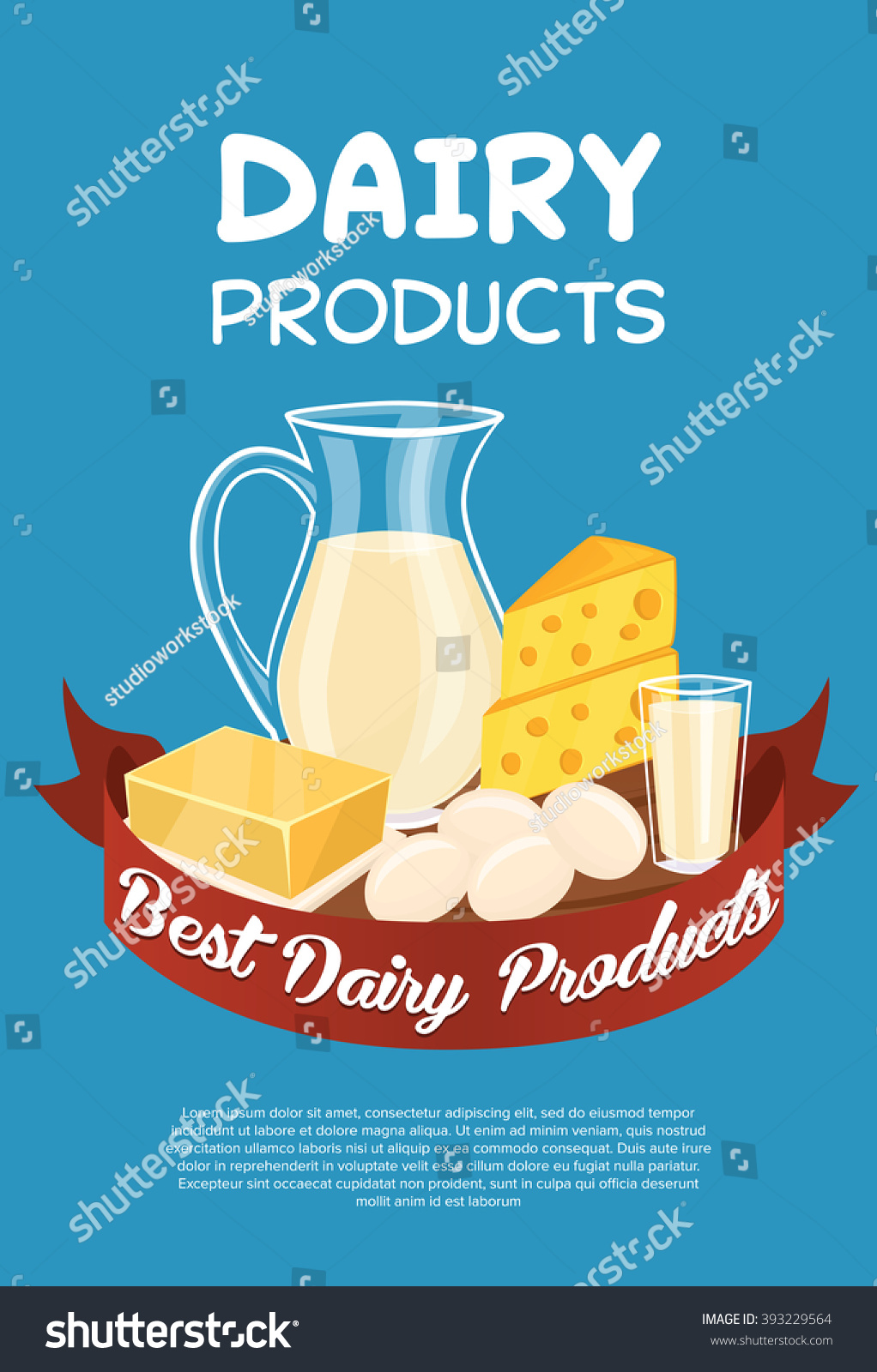 Dairy Products Poster Template Vector Illustration Lager-vektor ...