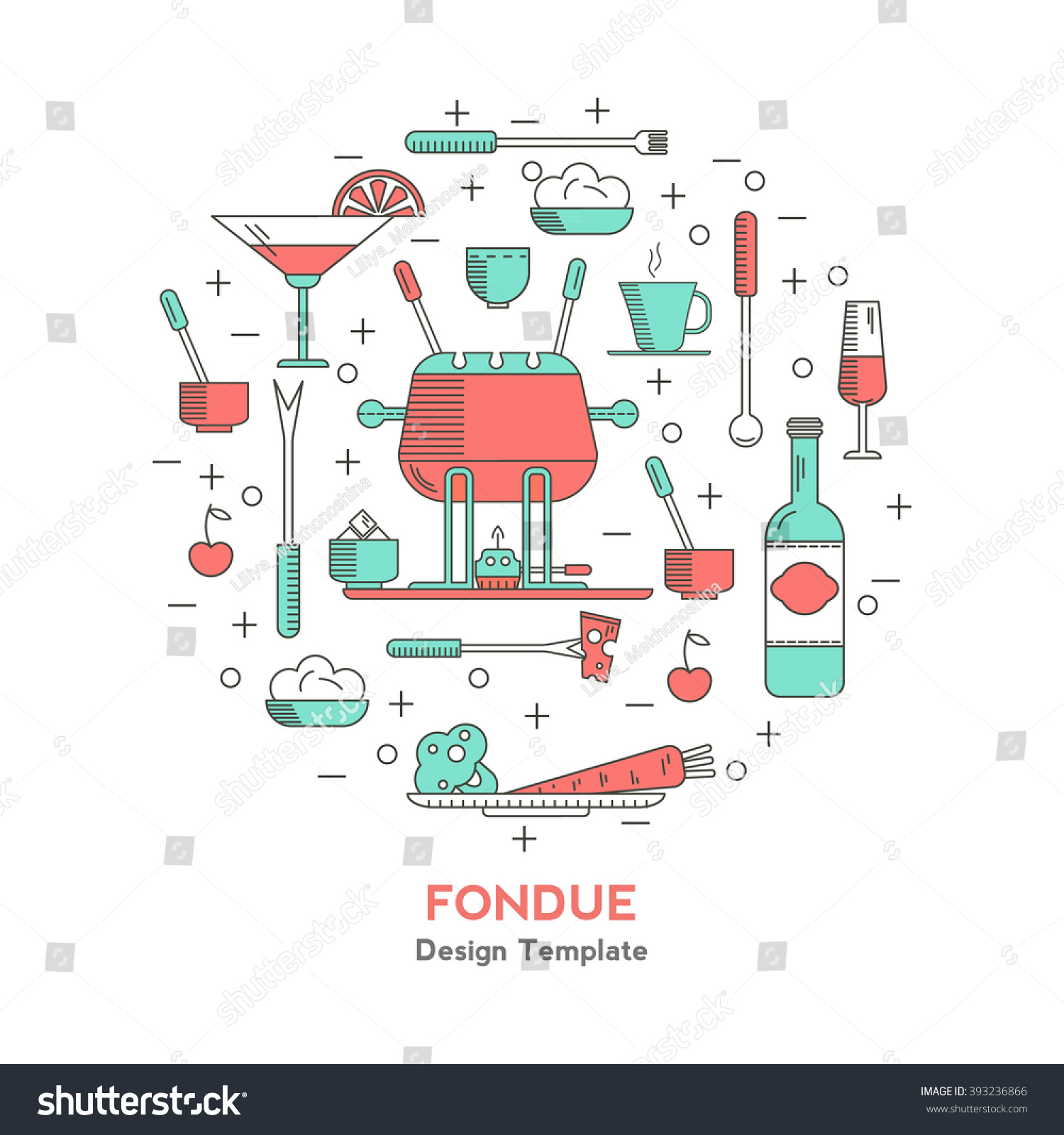 Fondue Party Icons Trendy Linear Style Stock Vector 393236866 ...