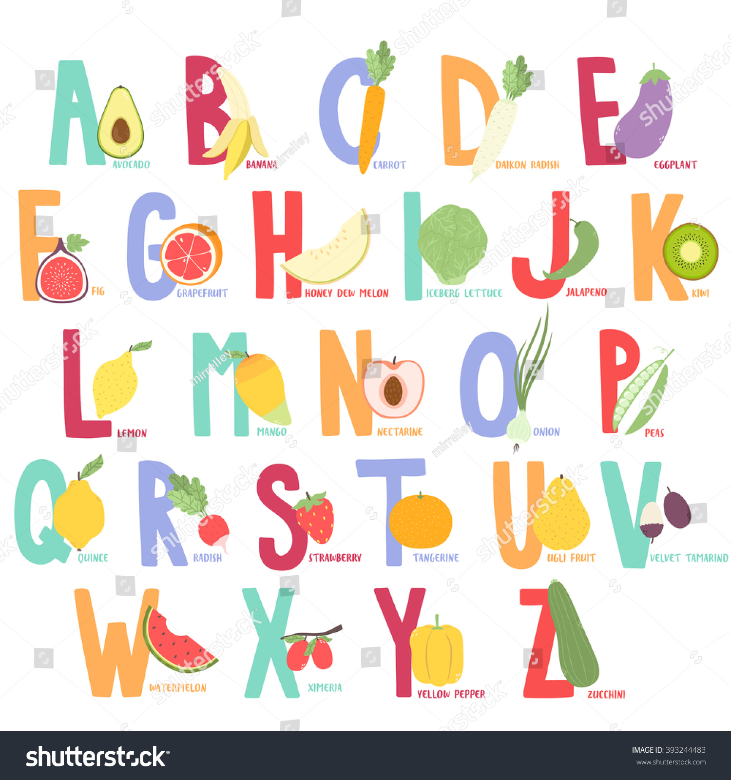 Cute Cartoon Fruits Ve ables Alphabet Kids Stock Vector
