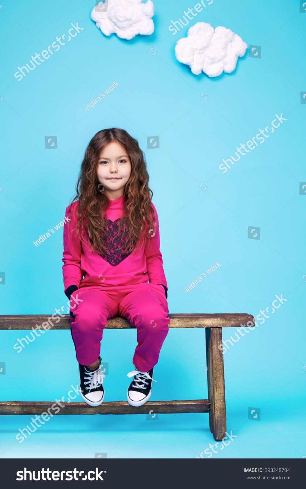 Small Girl Beautiful Style Fashion Clothes Stock Photo