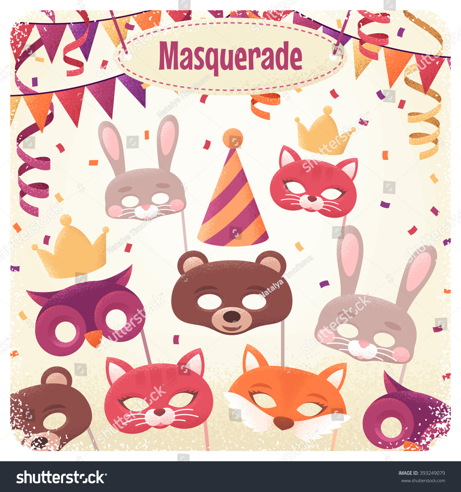 Vector bunting flags lovely celebration card with colorful paper - Template With Animal Masks Triangular Flags Paper Streamers And Confetti Retro Vector Illustration