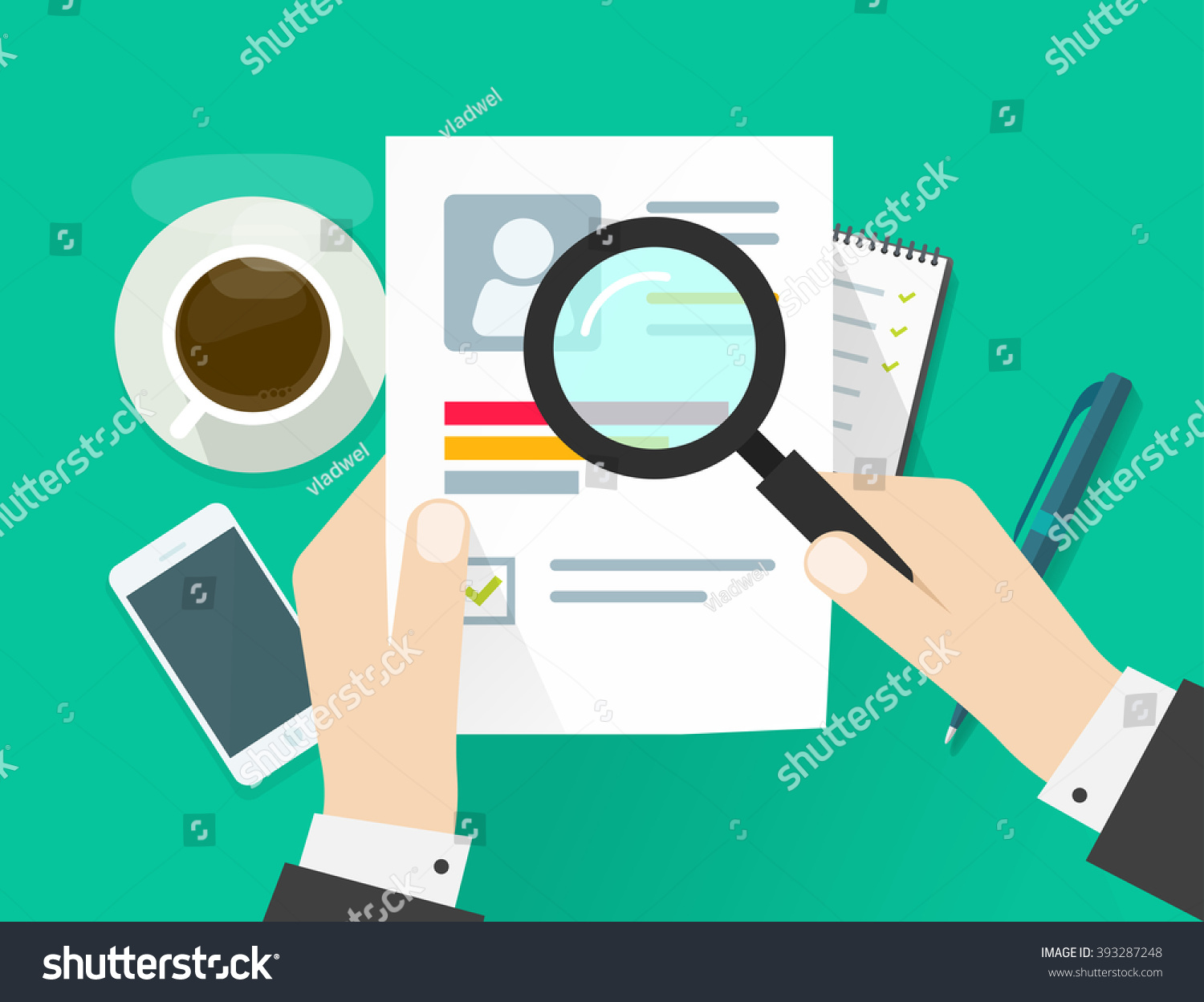cv application paper sheet business man stock vector 393287248