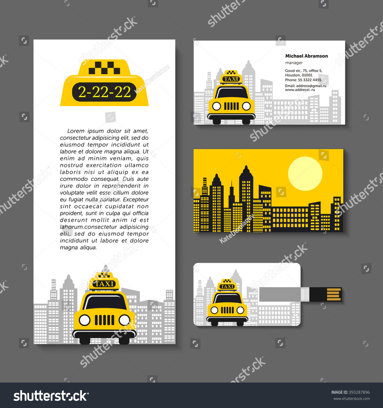 taxi set corporate identity elements business stock vector