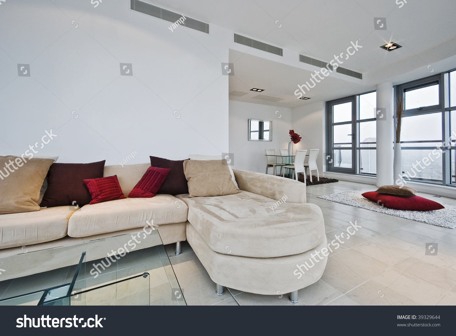 Massive Penthouse Living Room L Shaped Stock Photo & Image (Royalty ...