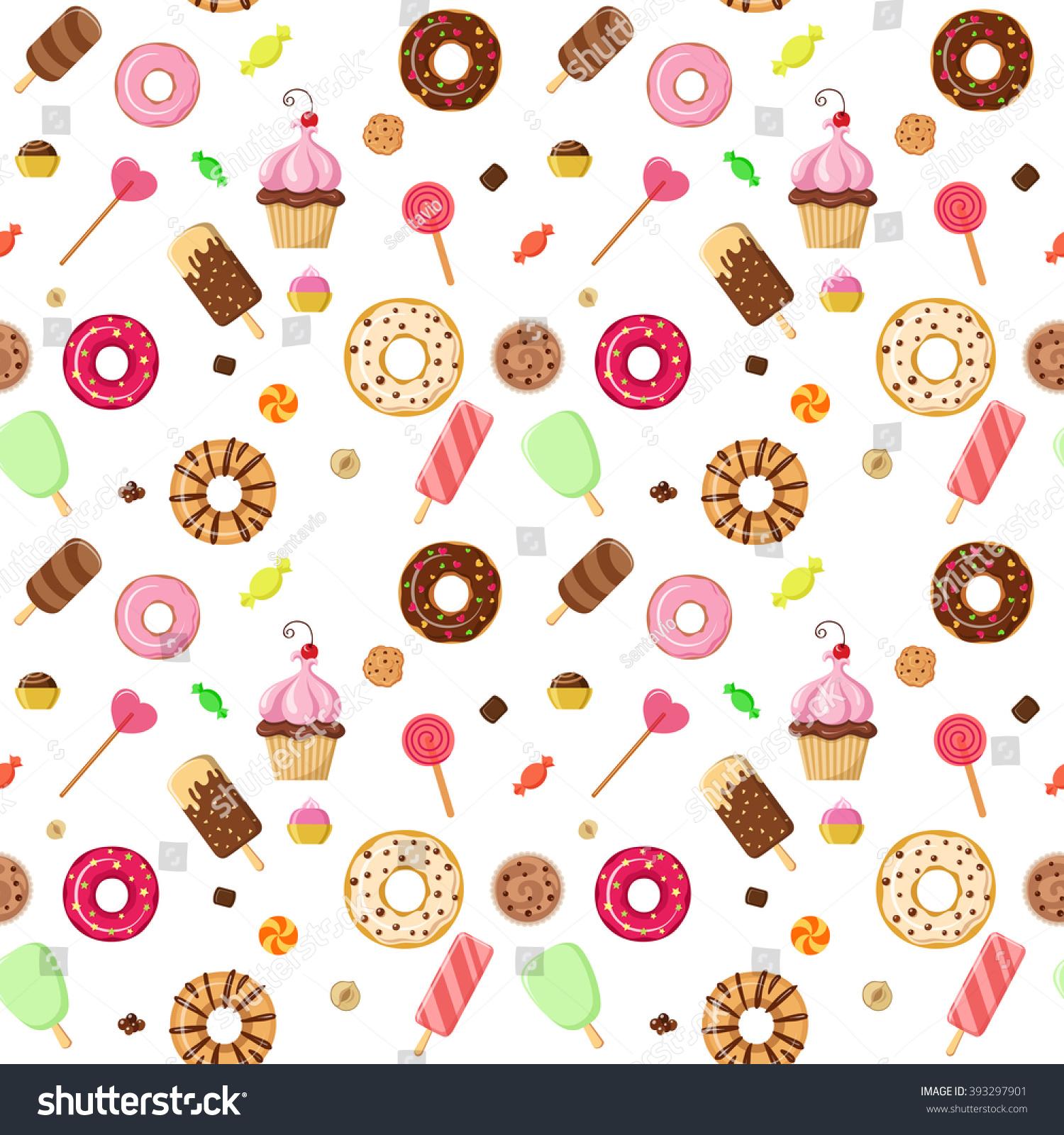 Desserts Ice Cream Wallpapers: Ice Cream Sweet Dessert Donut Cookie… Stock Photo