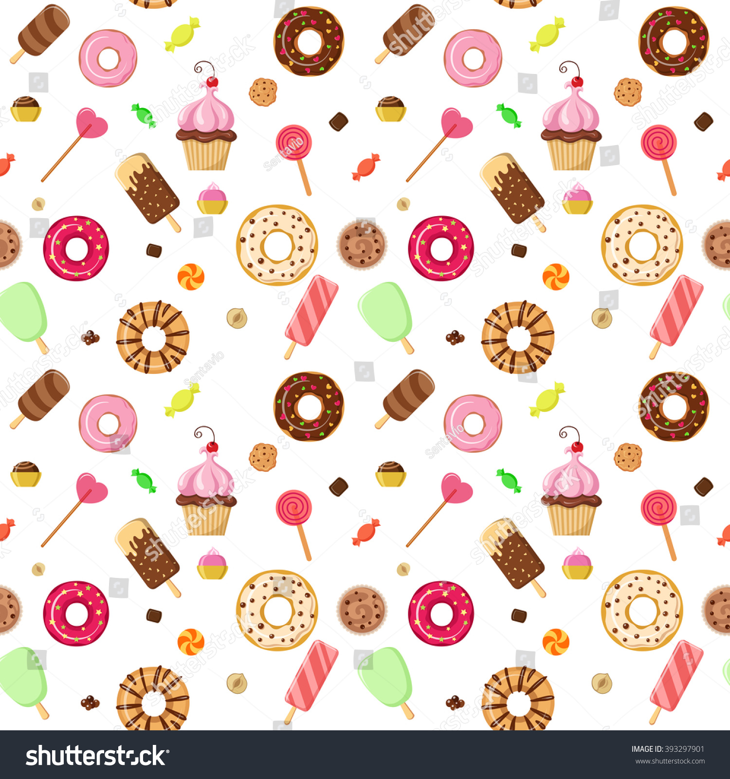 Sweet Ice Cream Flat Colorful Seamless Pattern Vector: Ice Cream Sweet Dessert Donut Cookie Stock Vector