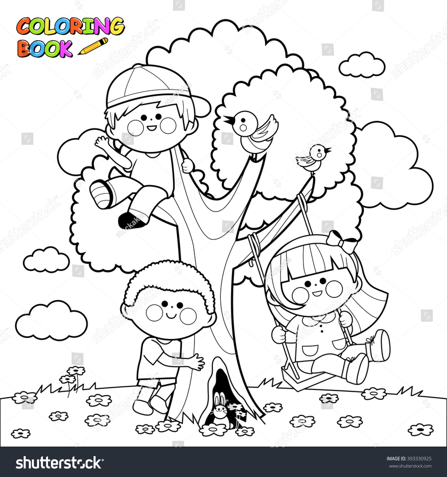 Children Playing On Tree Coloring Book Stock Vector 393330925 ...