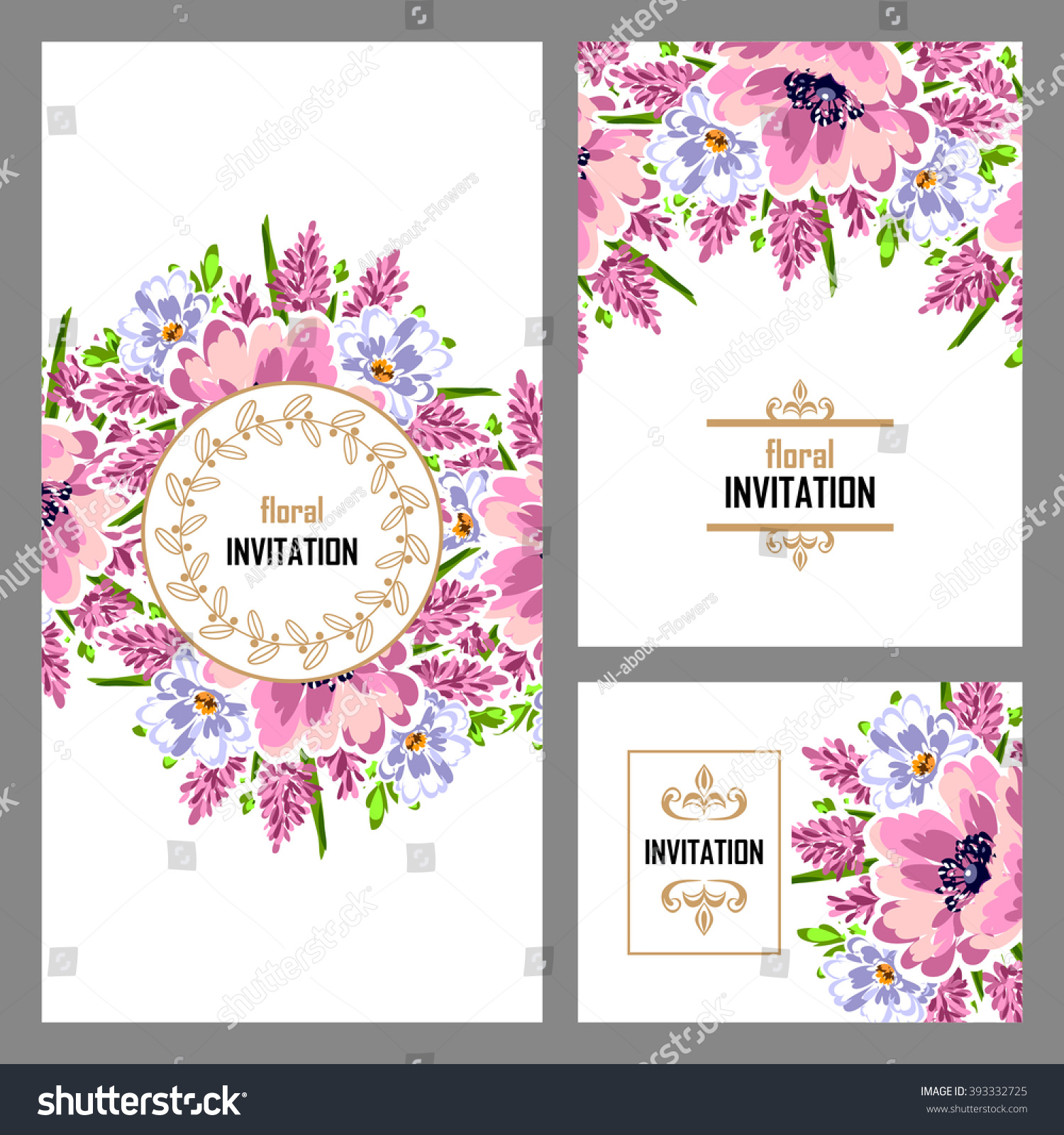 Vintage Delicate Invitation Flowers Wedding Marriage Stock Vector