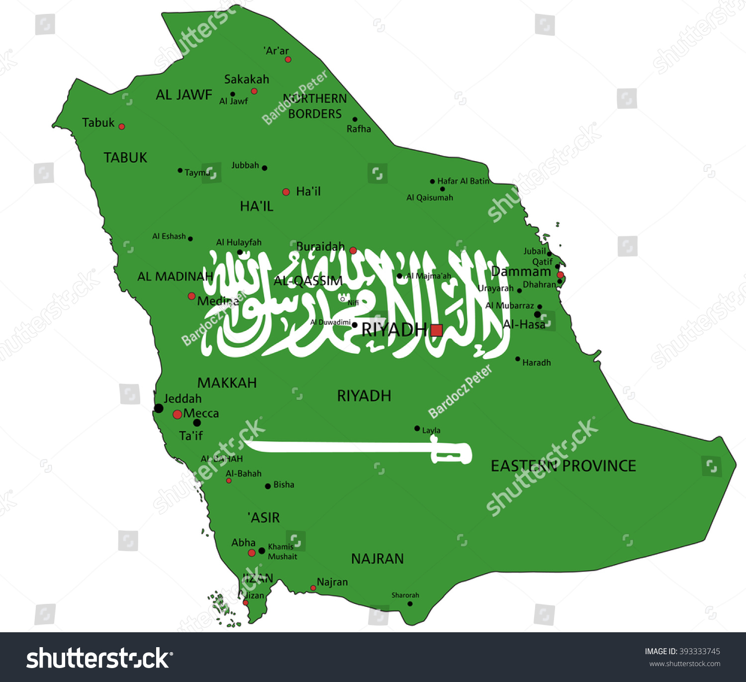 saudi arabia highly detailed political map with national flag isolated on white background