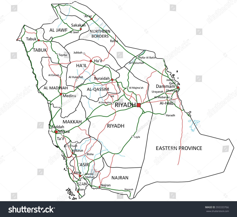 Saudi arabia road highway map vector stock vector 393333766 saudi arabia road and highway map vector illustration biocorpaavc